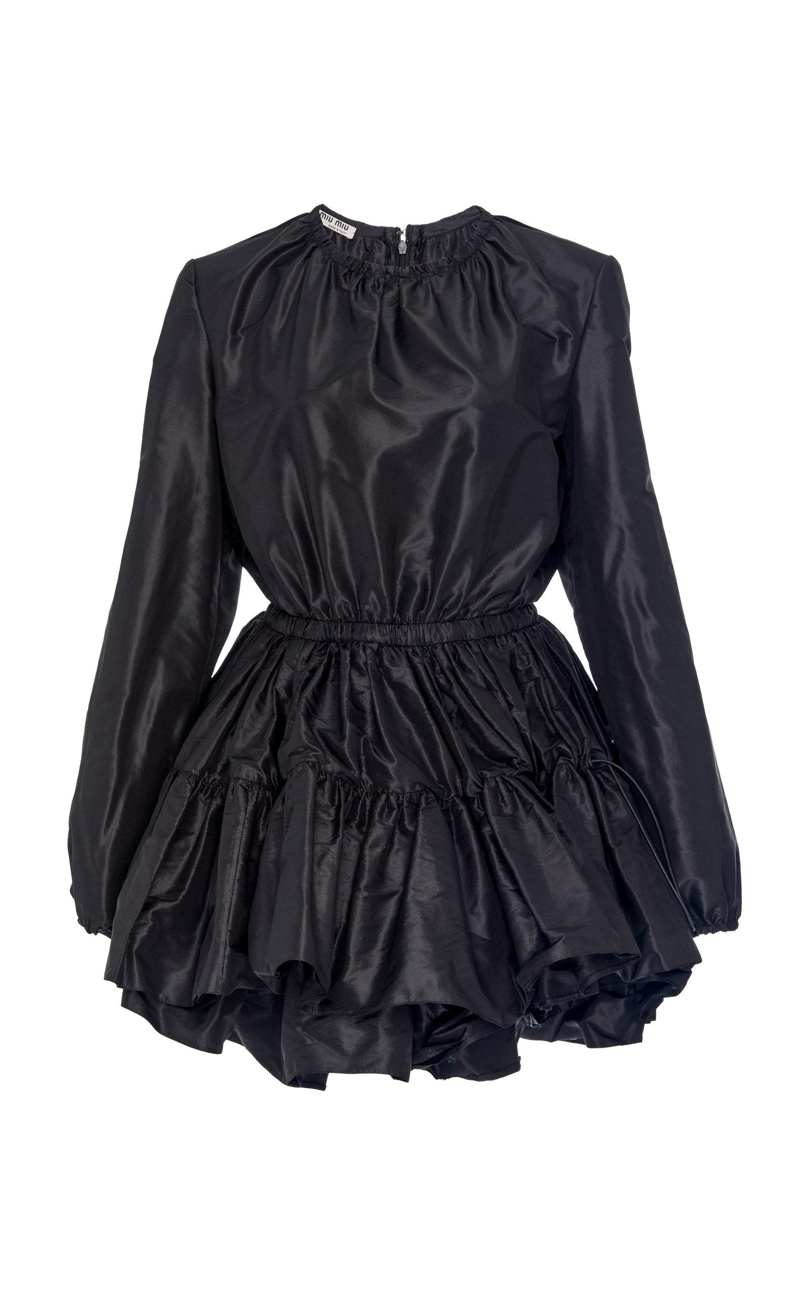 87b651fd7f Long Sleeve Taffeta Tiered Ruffle Mini Dress