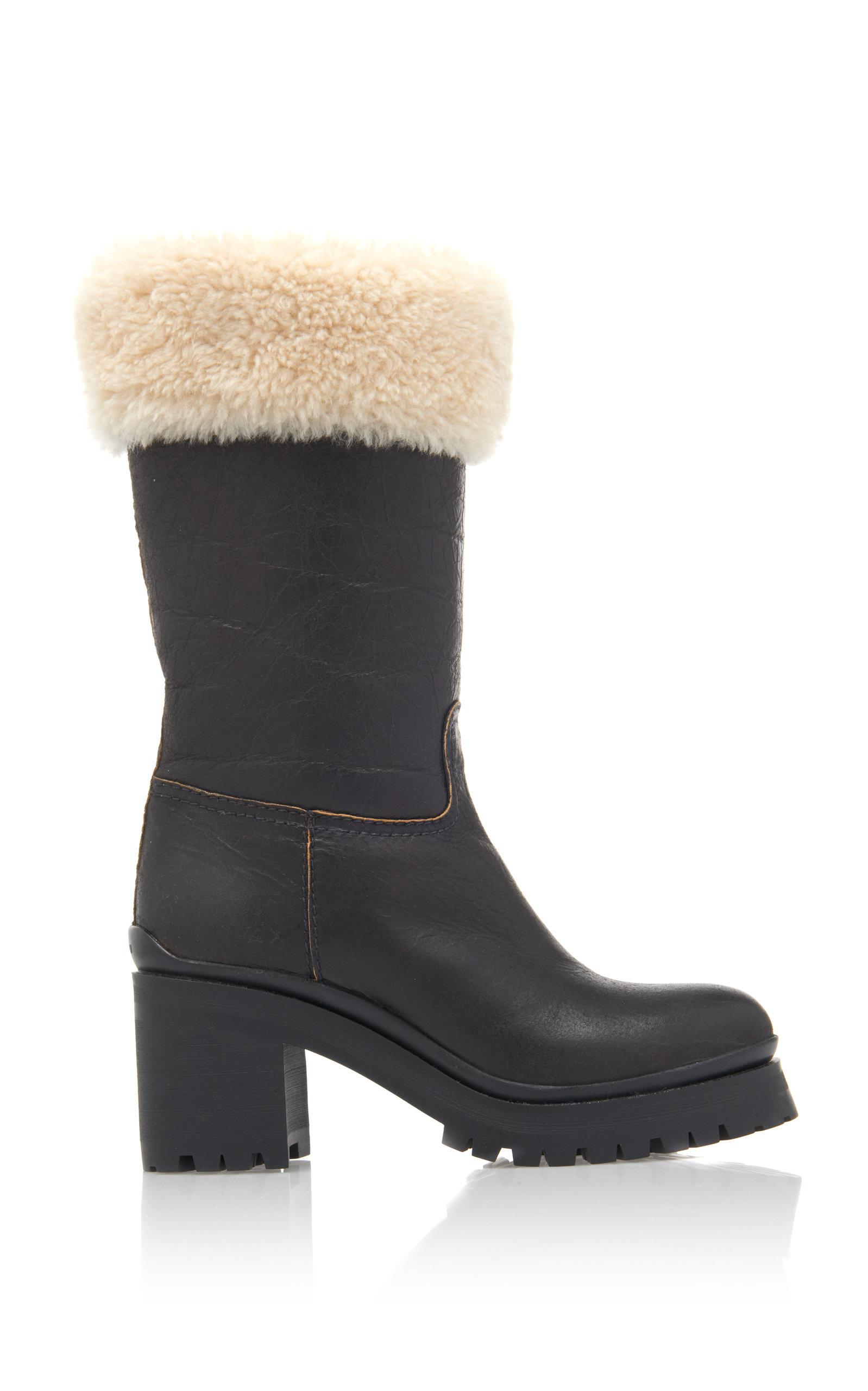 Miu Miu Black Shearling Crinkled Boots