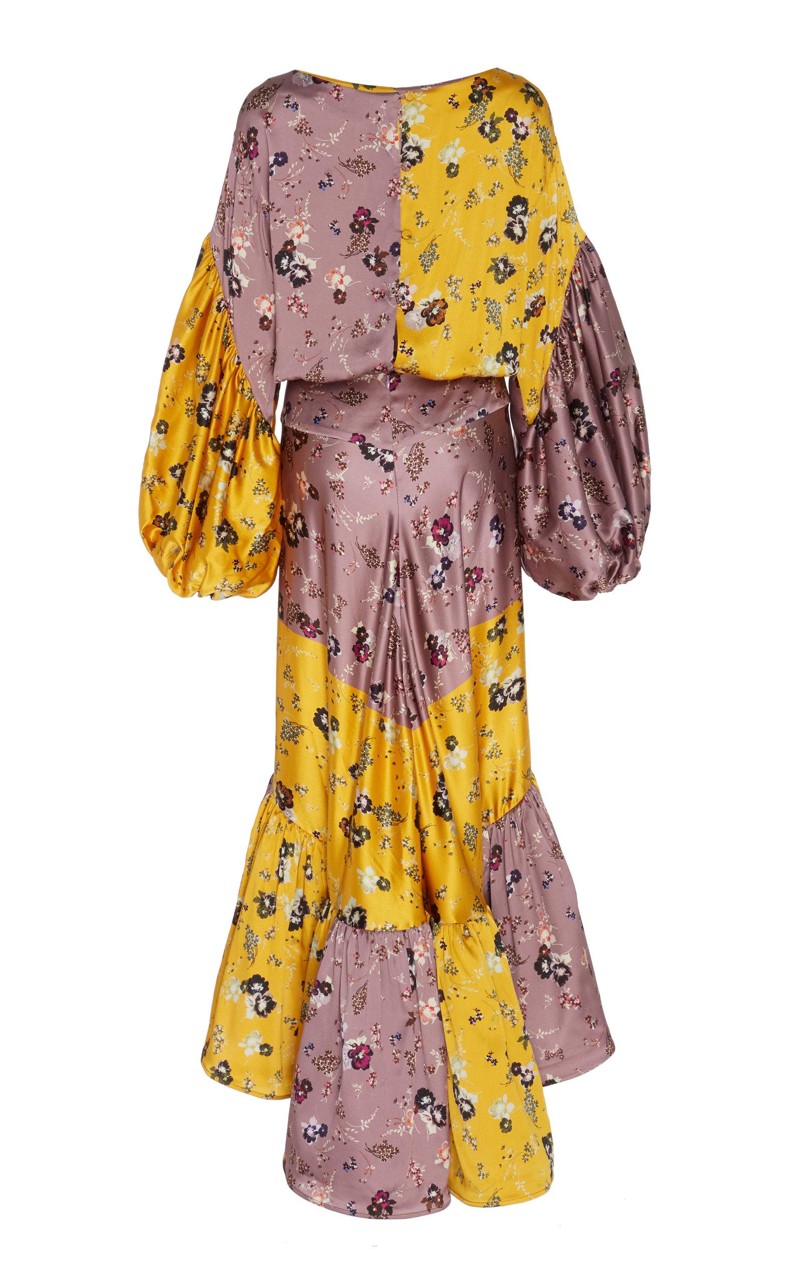 Silvia Tcherassi Dresses Dalit Floral-Print Patchwork-Effect Silk-Satin Midi Dress
