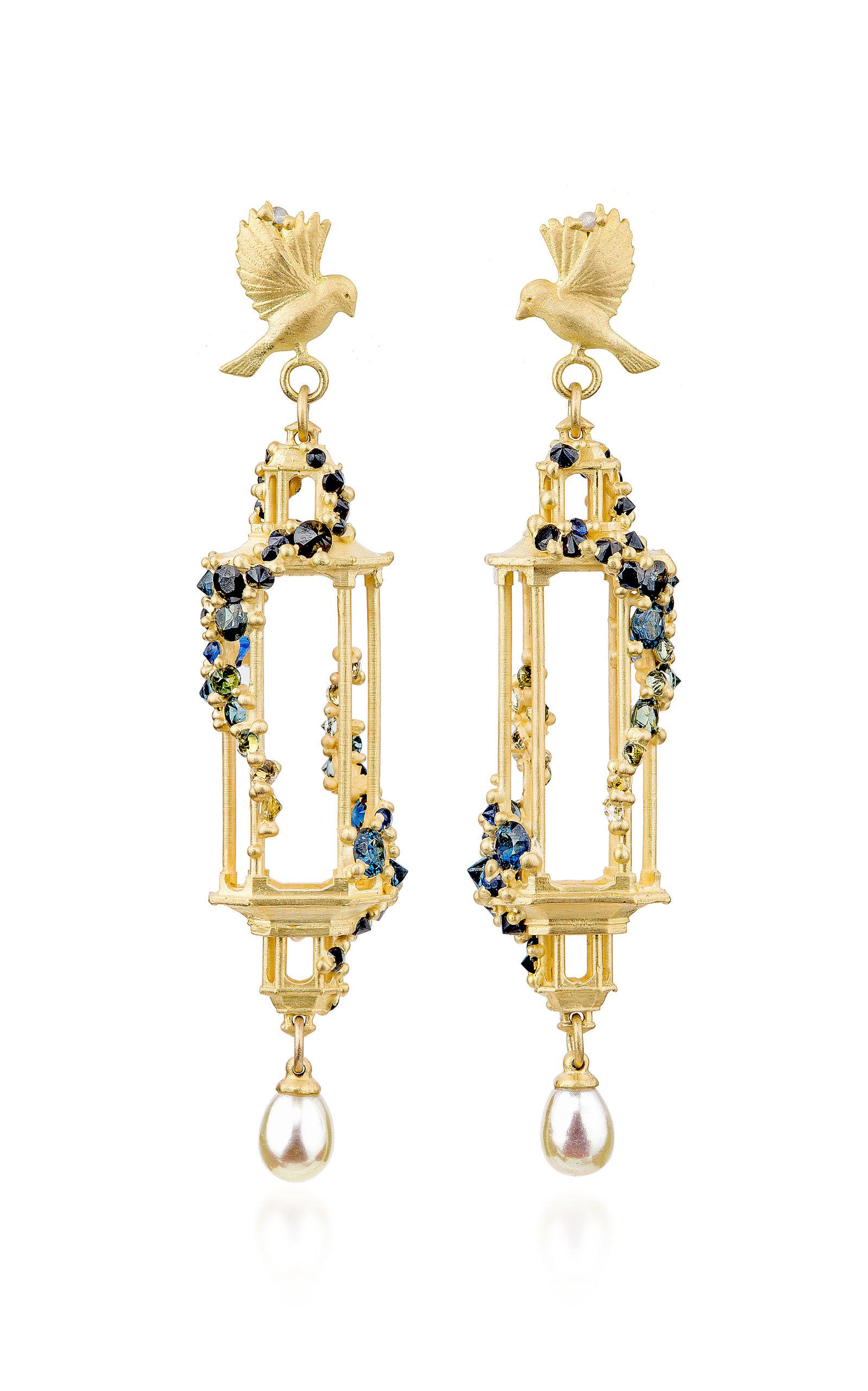 Jade Terrace Pagoda 18k Gold Sapphire Earrings