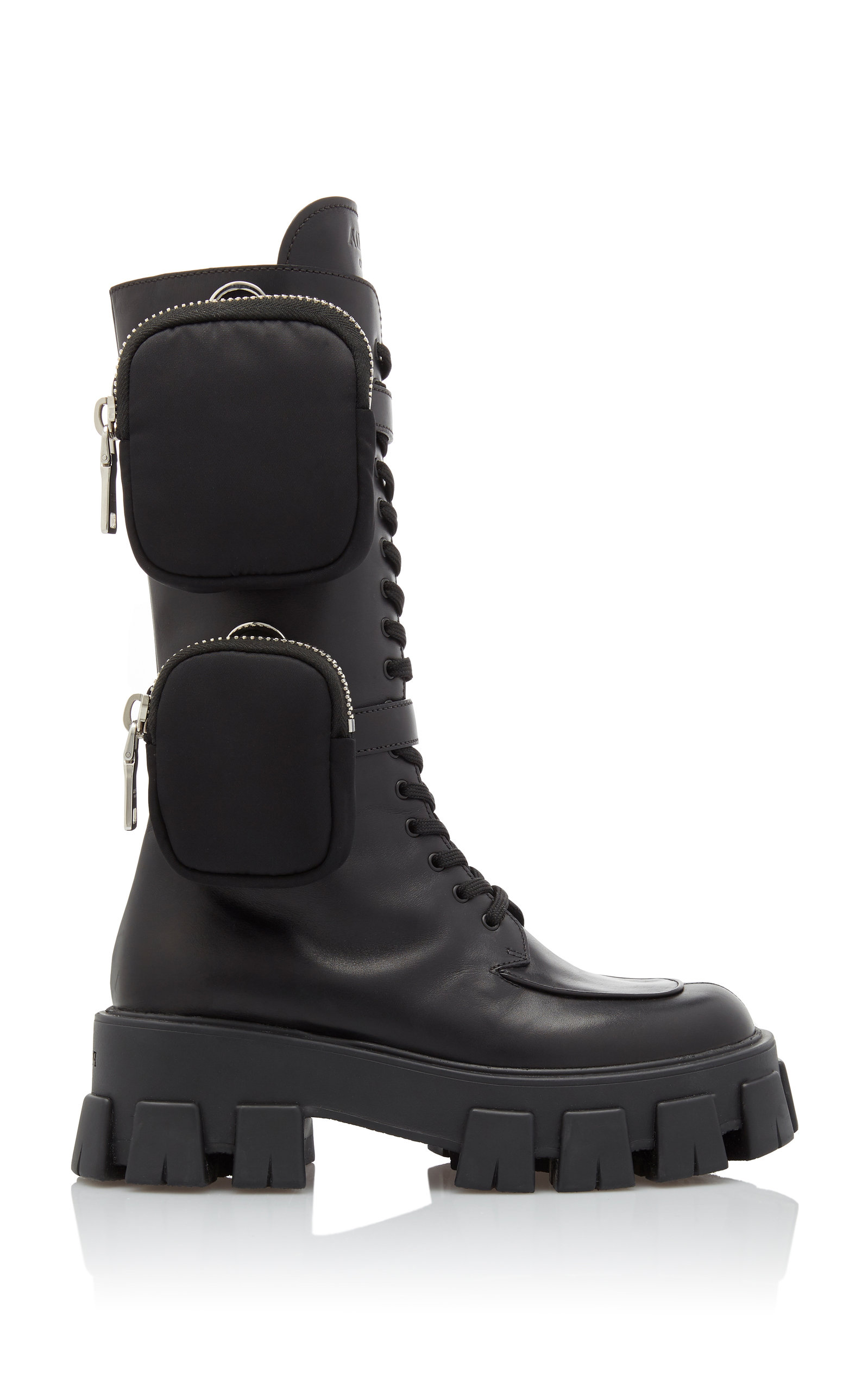 Leather Platform Combat Boots by Prada