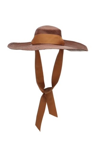 Sensi Studio CORDOVEZ GROSGRAIN-TRIMMED STRAW HAT