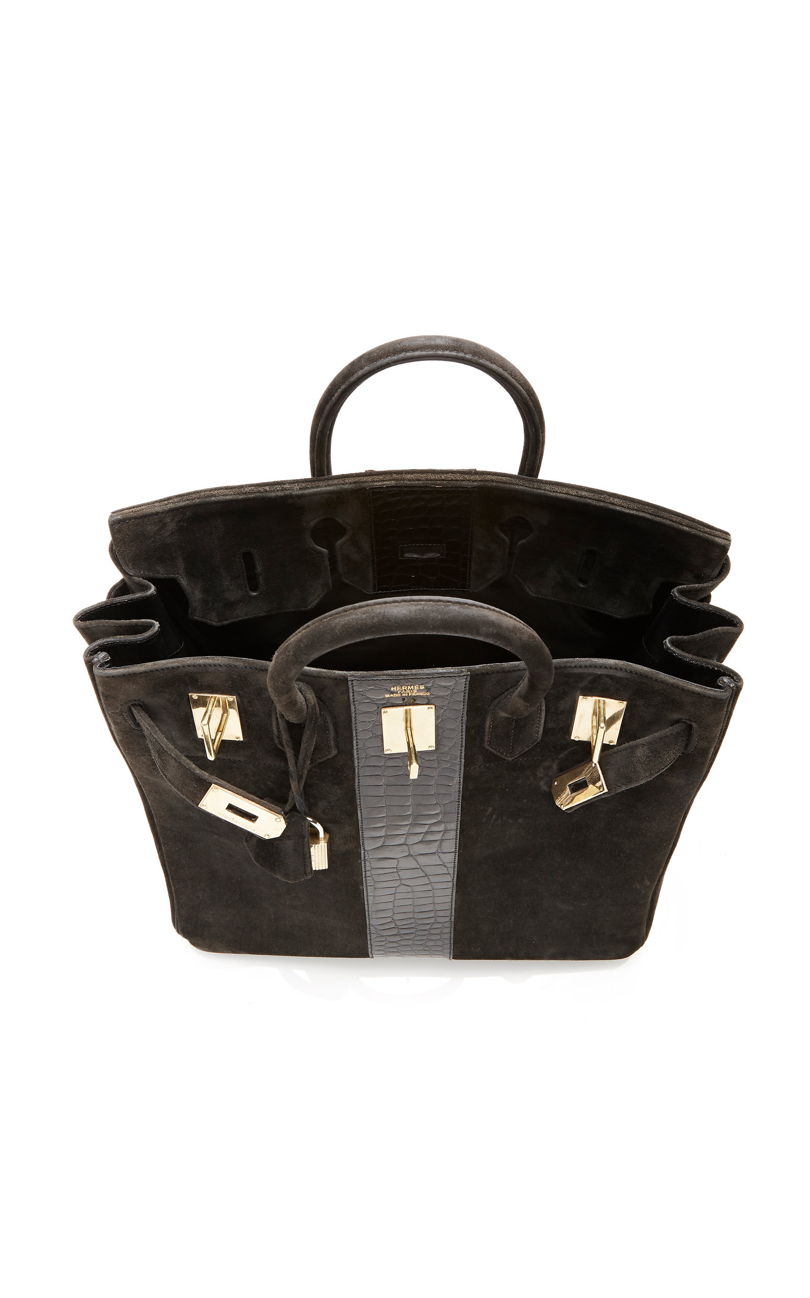 e75fed7ed4 Hermès 40cm Black Doblis Suede and Crocodile HAC Birkin by Hermès ...