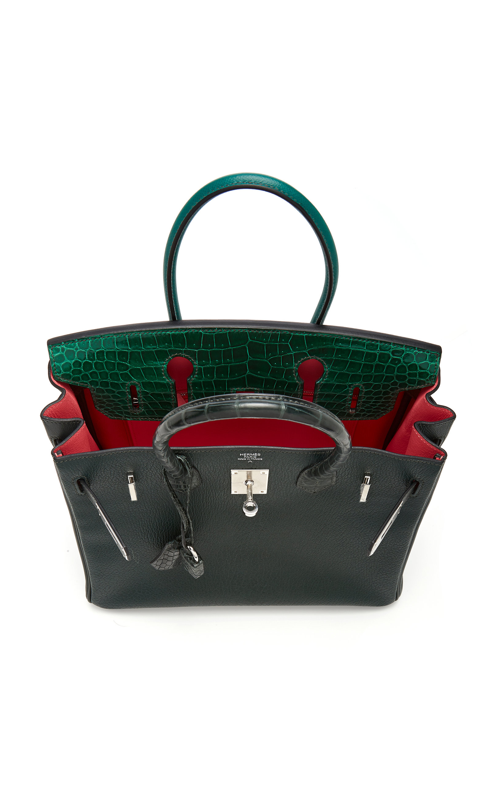 7073929ece Hermès 30cm Shades of Green Porosus Crocodile and Leather Limited ...