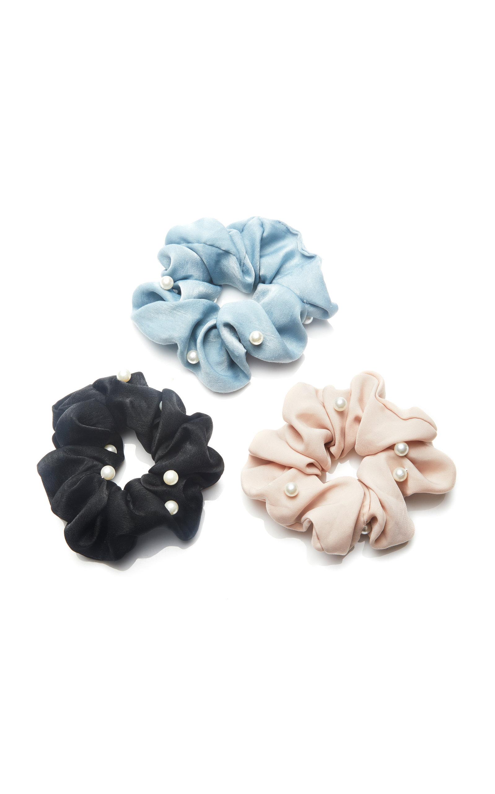 Pearl-Embellished Twill Scrunchies