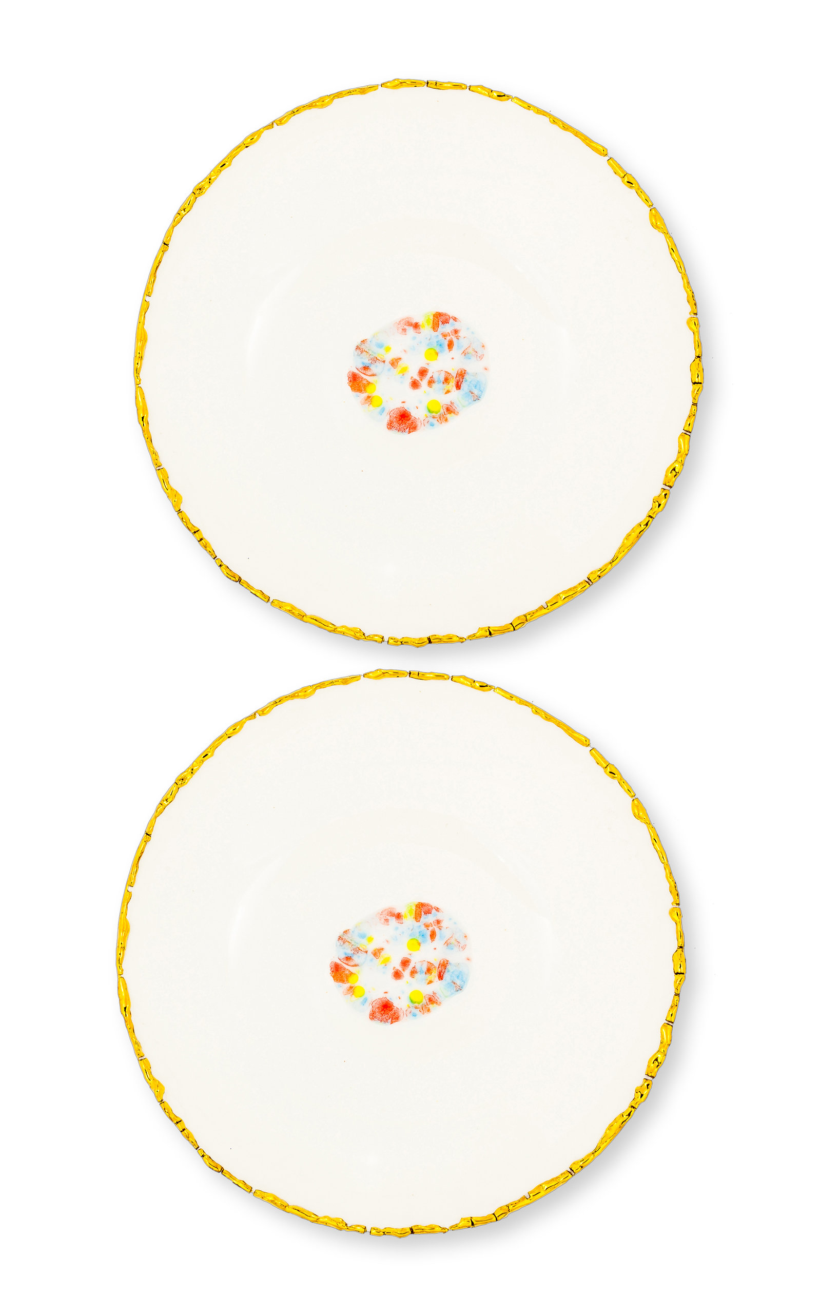 Set Of 2 Dessert Coupe Plate Confetti