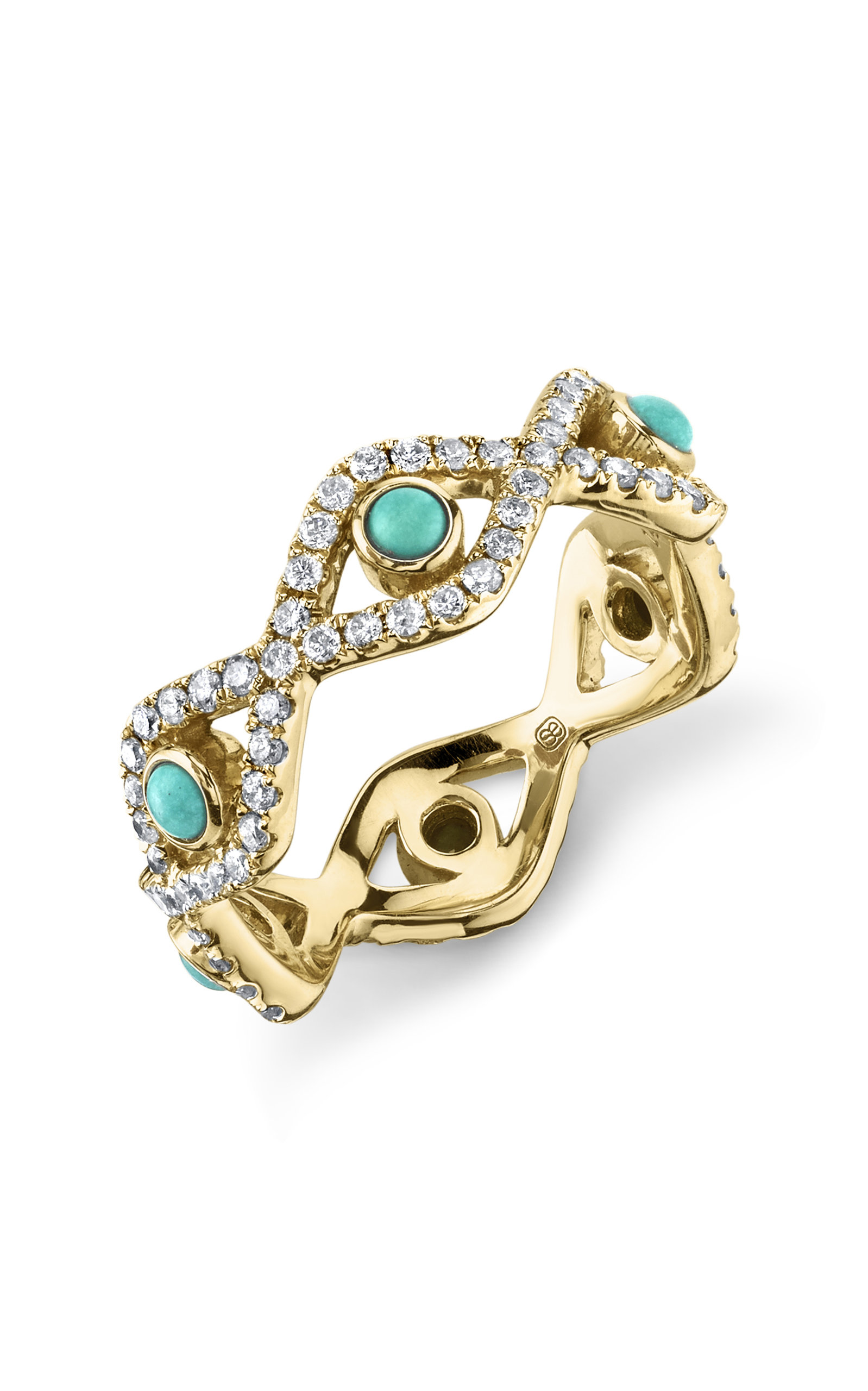 SYDNEY EVAN | Sydney Evan Turquoise And Pave Evil Eye Eternity Ring | Goxip
