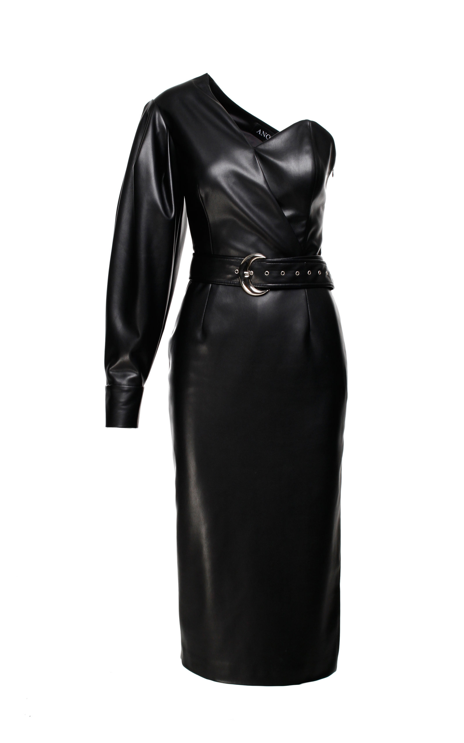 Anouki FAUX LEATHER ONE-SHOULDER DRESS