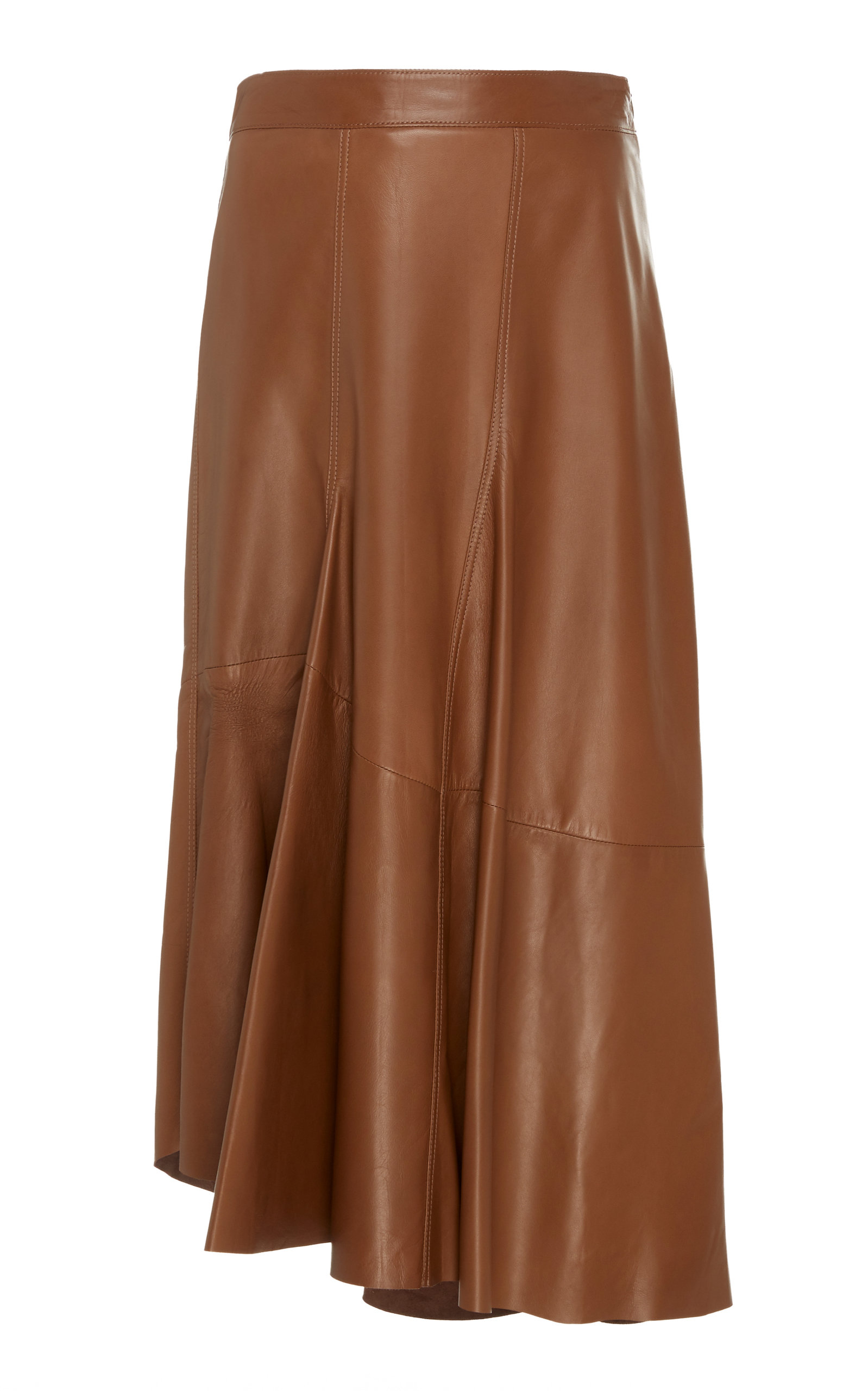 0e9624fd57 High-Waisted Leather Midi Skirt by Brunello Cucinelli | Moda Operandi