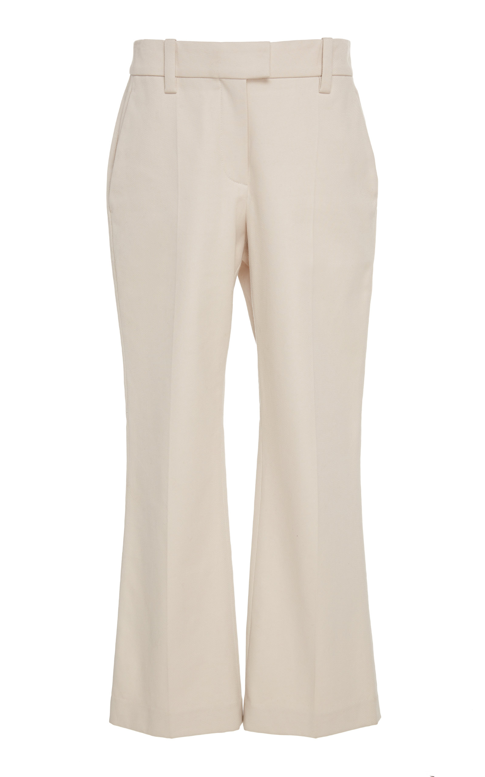 6619693457 Brunello CucinelliCropped Stretch-Cotton Flared Pants. CLOSE. Loading