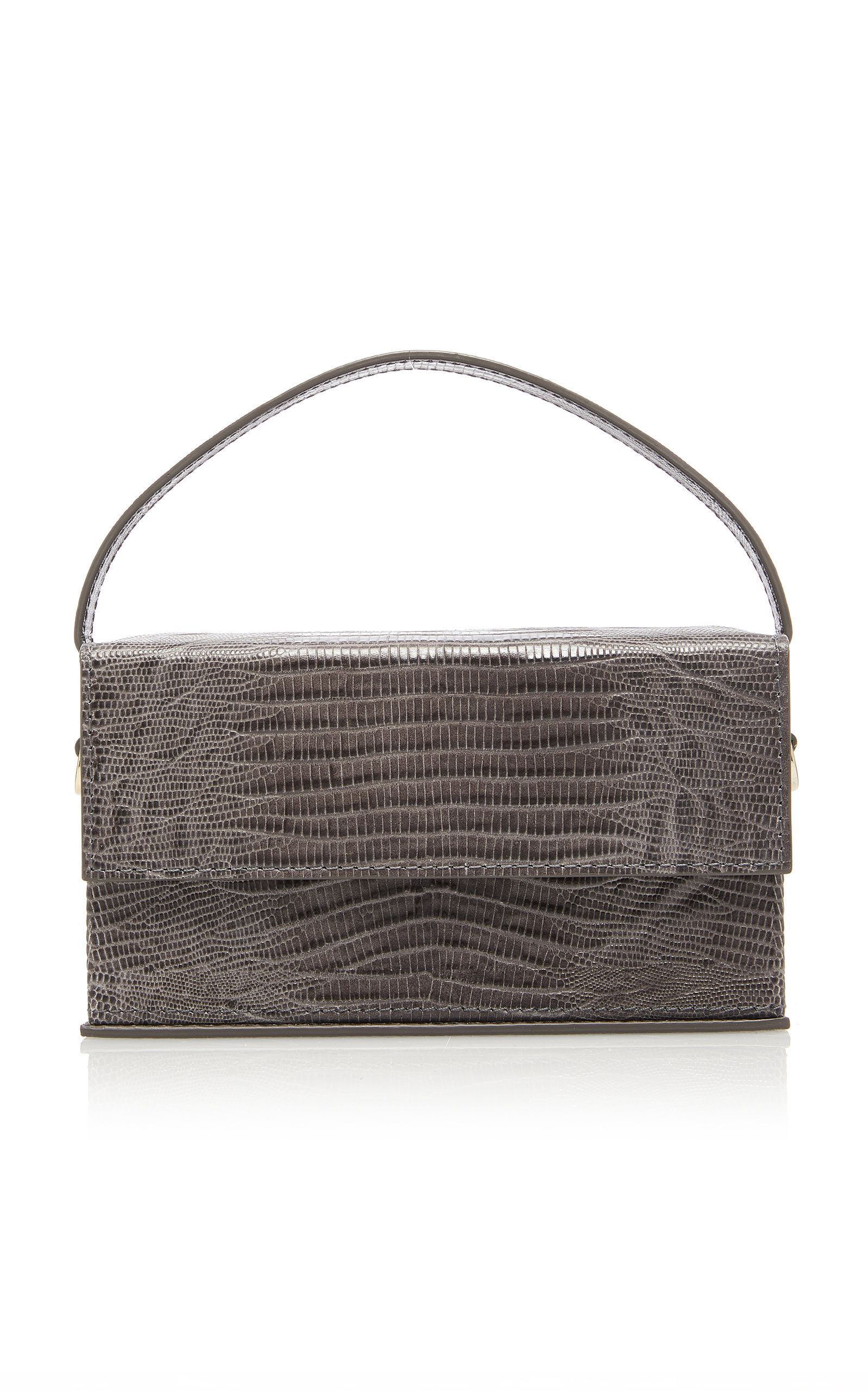 L'AFSHAR   L'Afshar Ida Embossed Leather Bag With Lucite Grey Short Chain   Goxip
