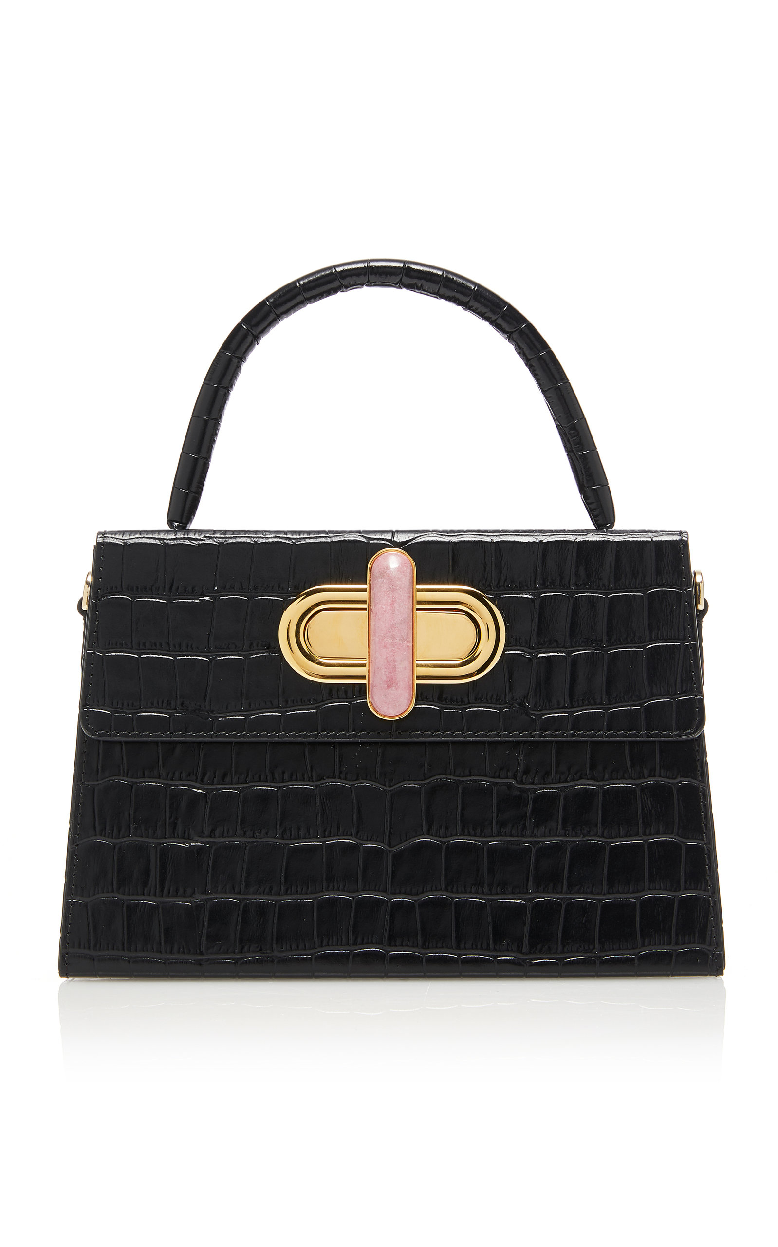 L'AFSHAR | L'Afshar Diba Embossed Leather Bag With Gold Loop Chain | Goxip