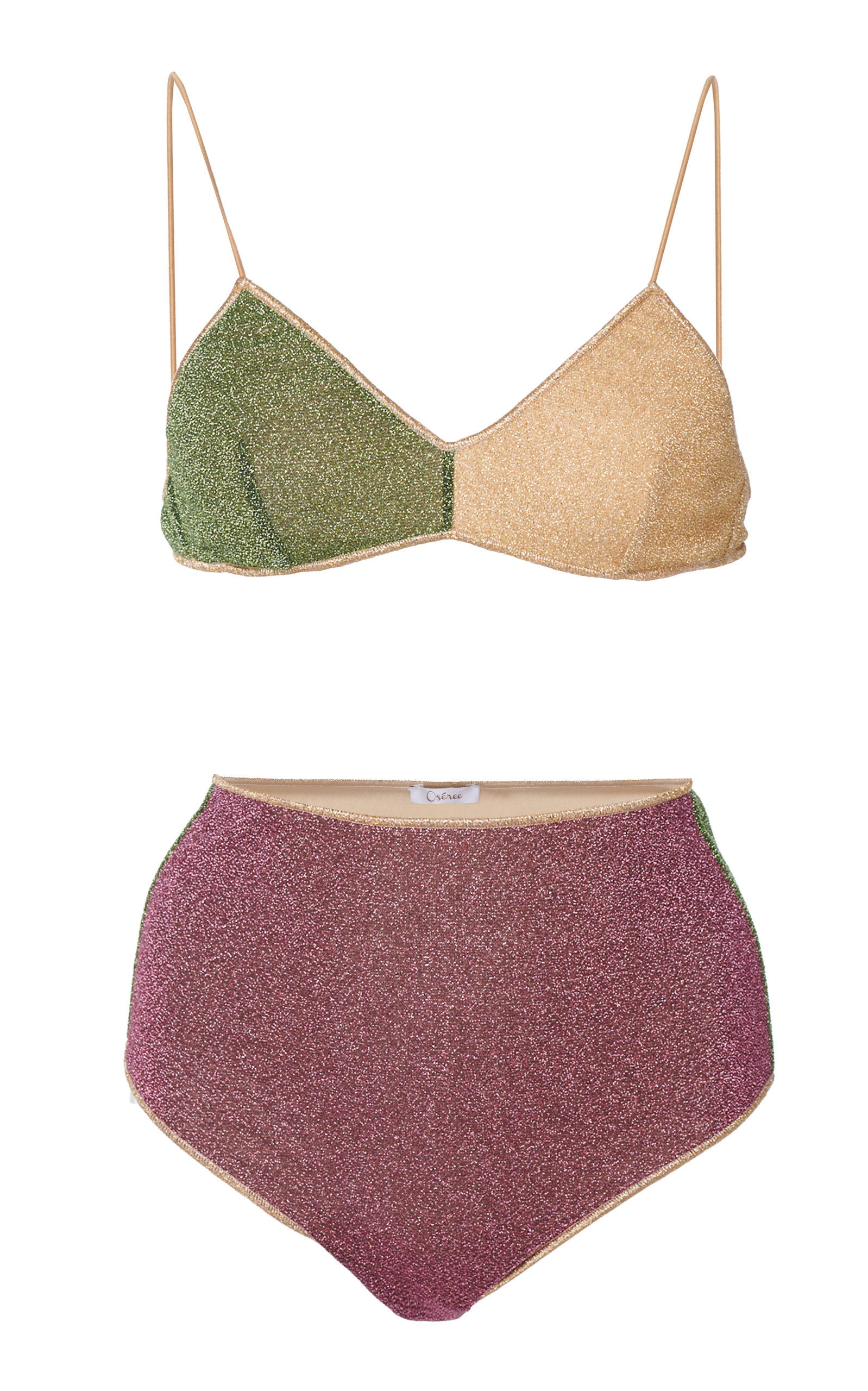 OSEREE | Oseree Color-Block Stretch-Lurex Bikini | Goxip