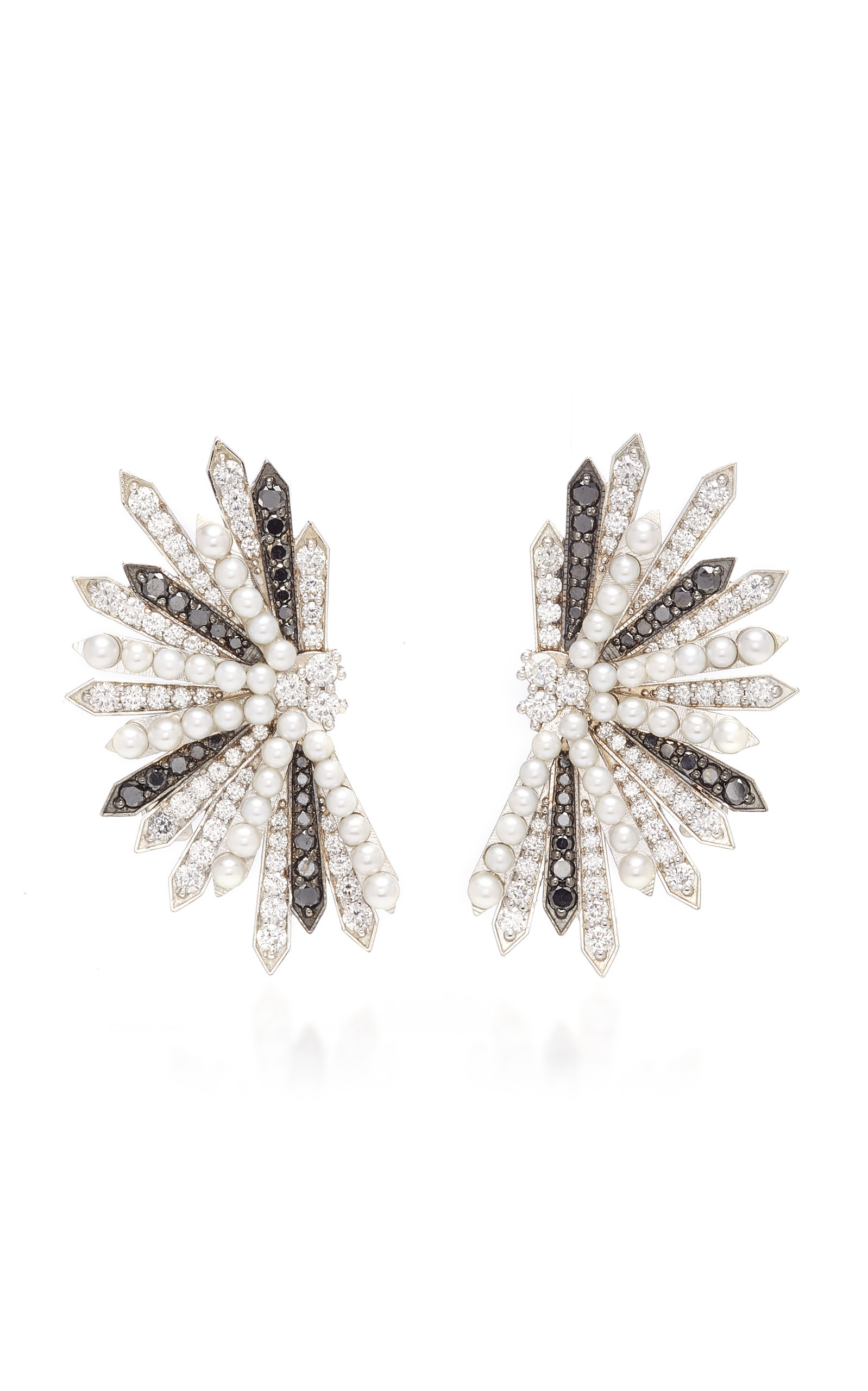 COLETTE JEWELRY | Colette Jewelry Entwined Black And White Diamond Earrings | Goxip