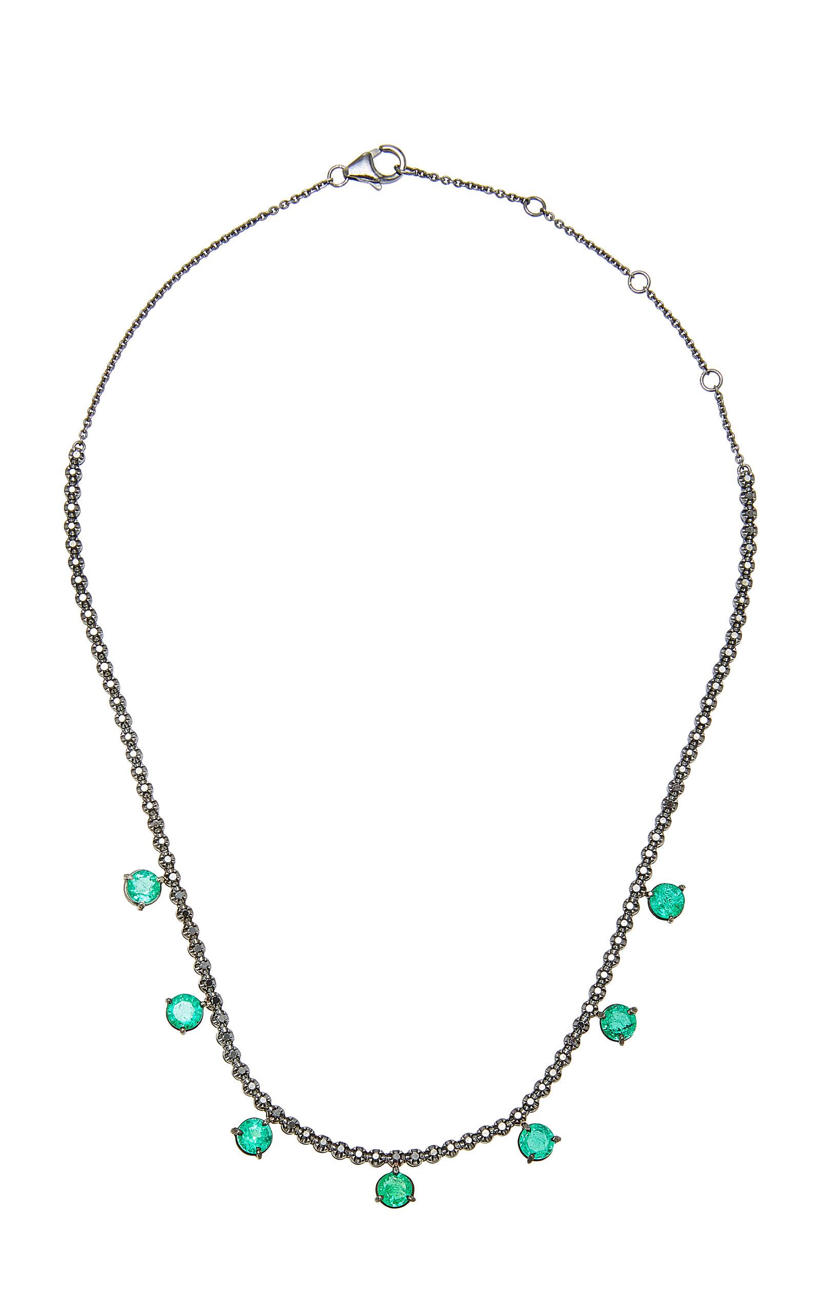 COLETTE JEWELRY | Colette Jewelry Black Diamond And 7 Emerald Necklace | Goxip