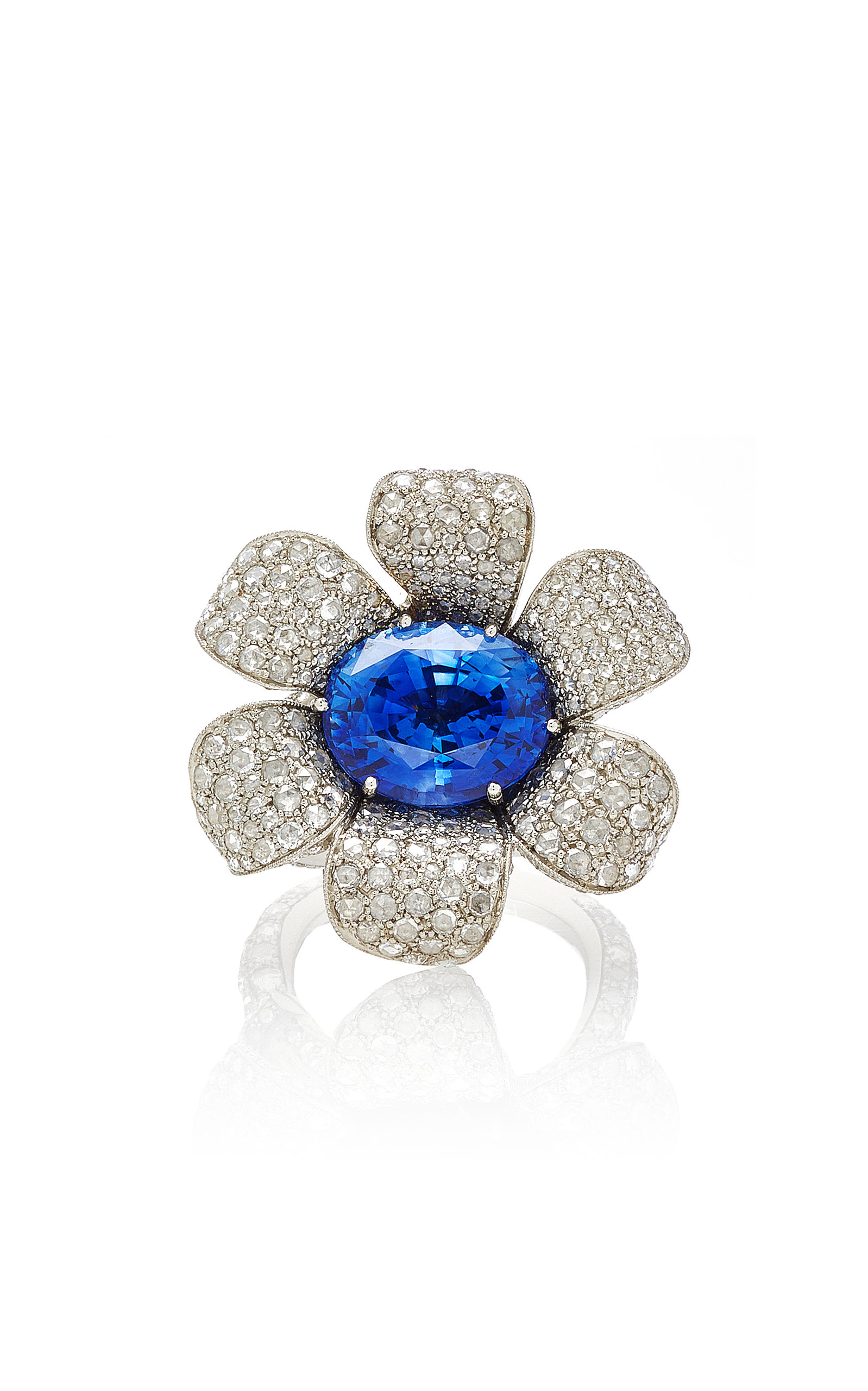 MUNNU THE GEM PALACE | Munnu The Gem Palace Trumpet Flower Ring With Sapphire And Diamonds | Goxip
