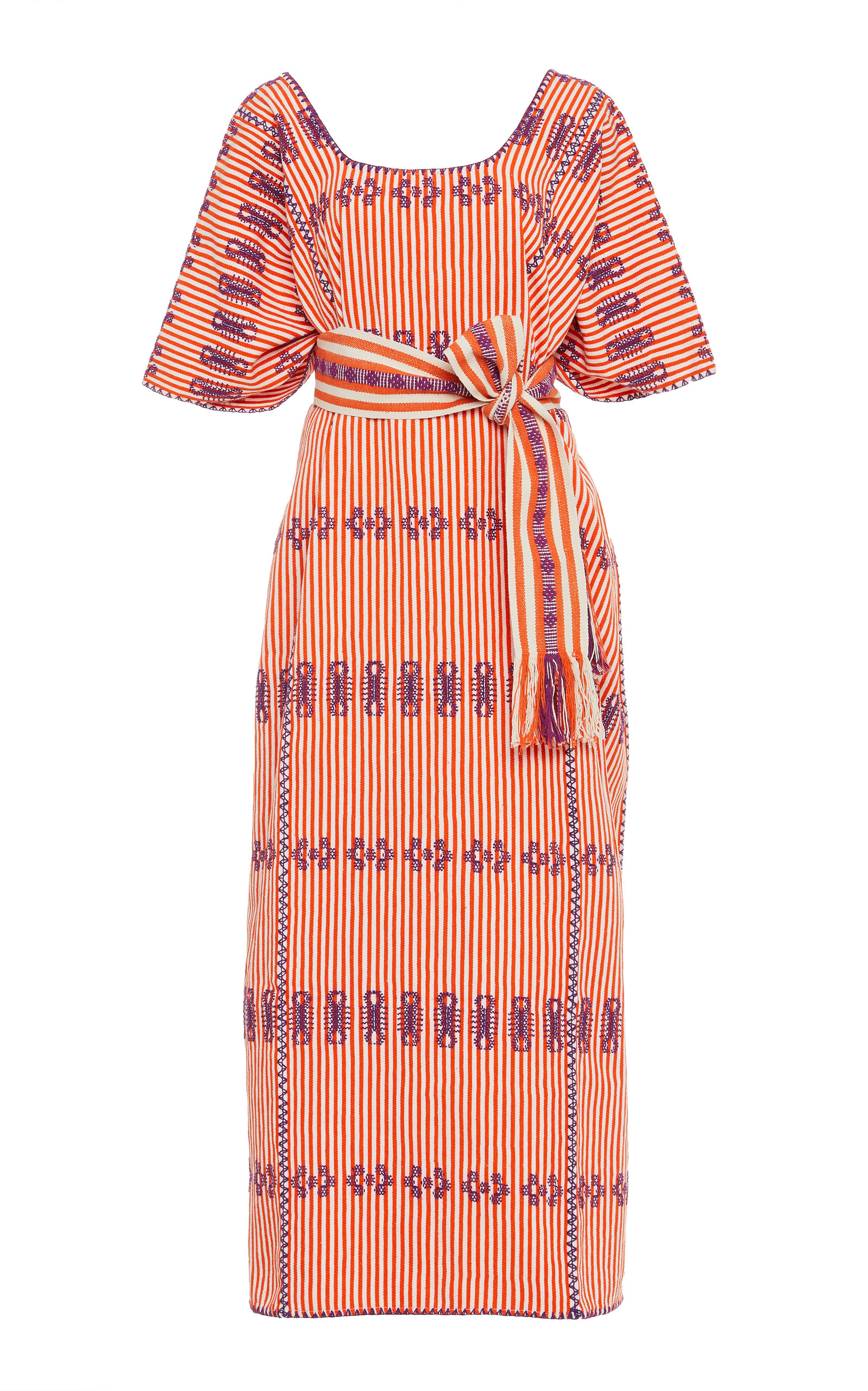 Pippa Holt Dresses STRIPED EMBROIDERED MIDI DRESS