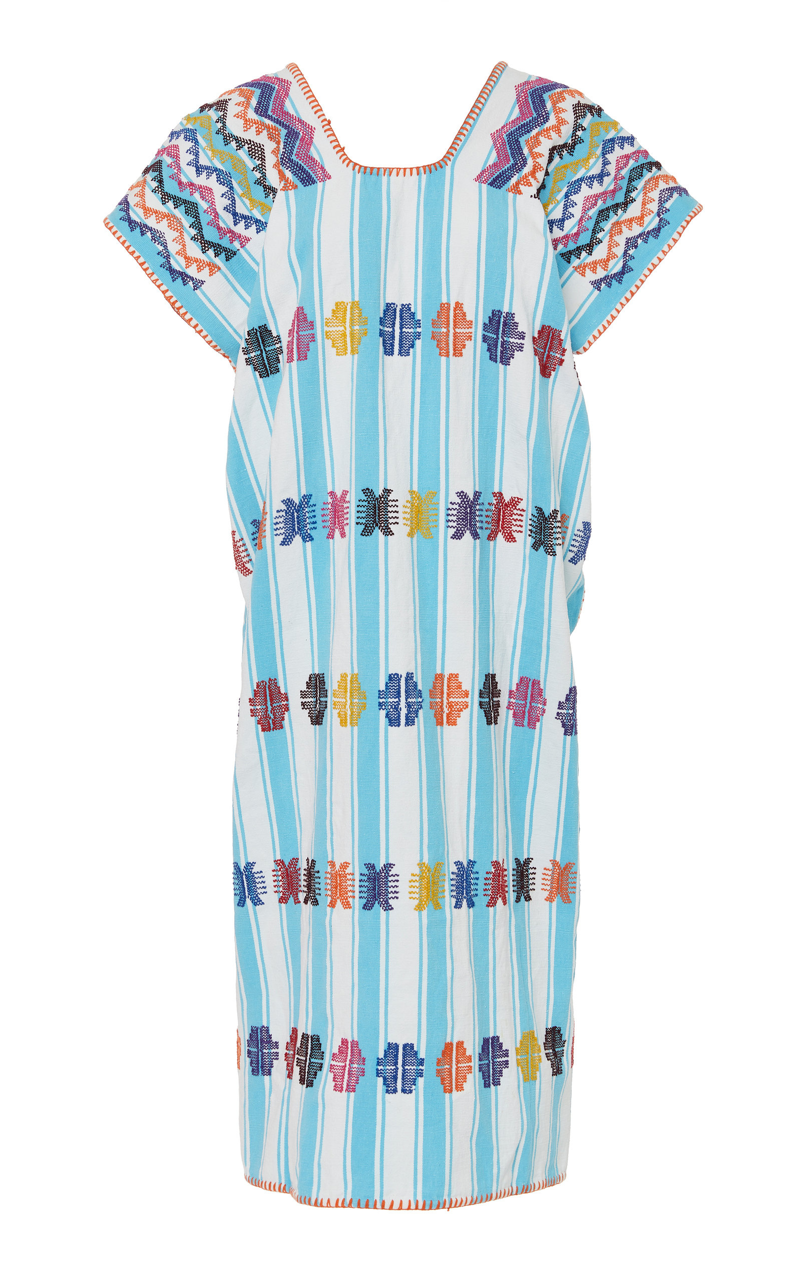 Pippa Holt Tops EMBROIDERED STRIPED COTTON CAFTAN