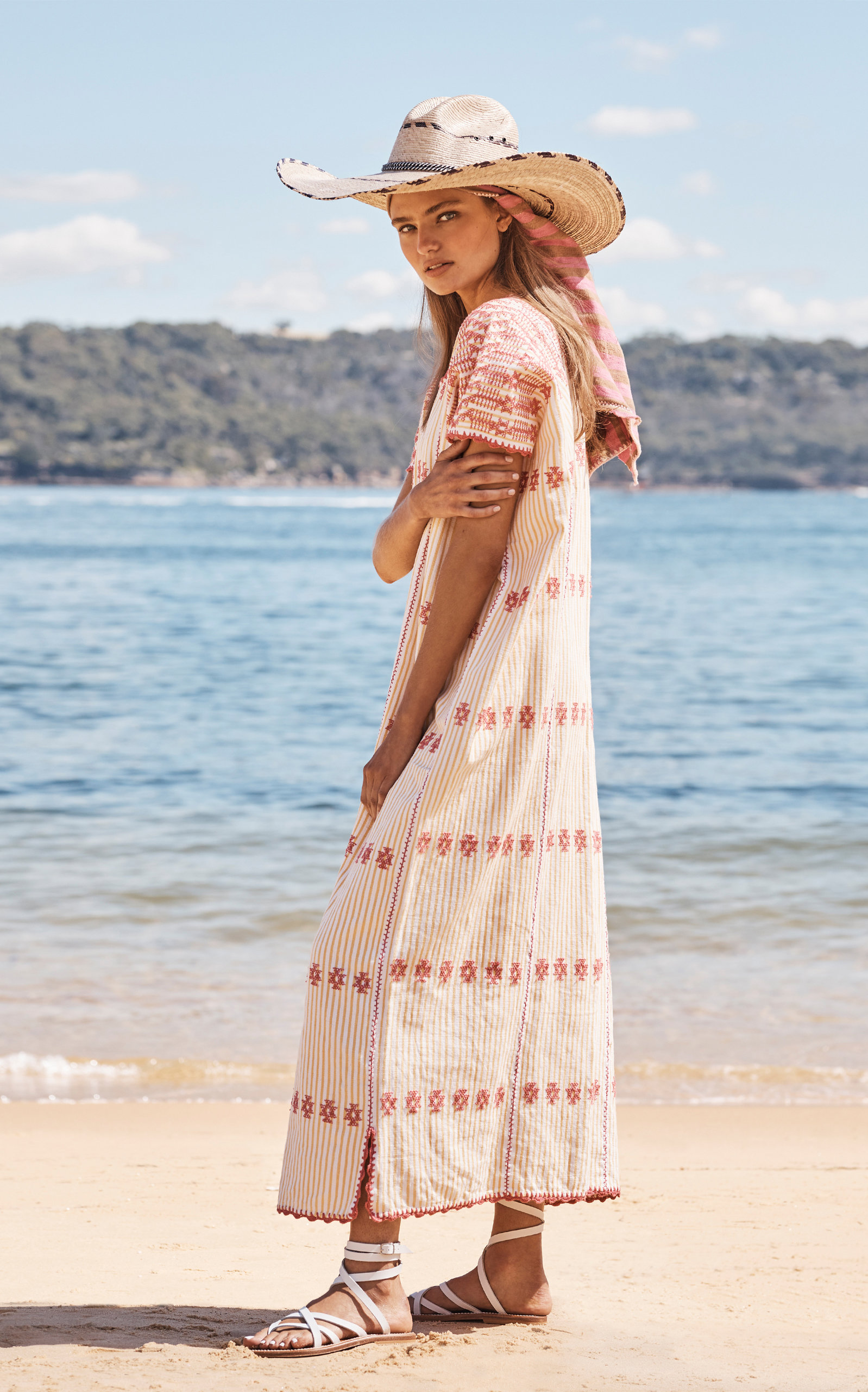 Pippa Holt Dresses Embroidered Cotton Caftan