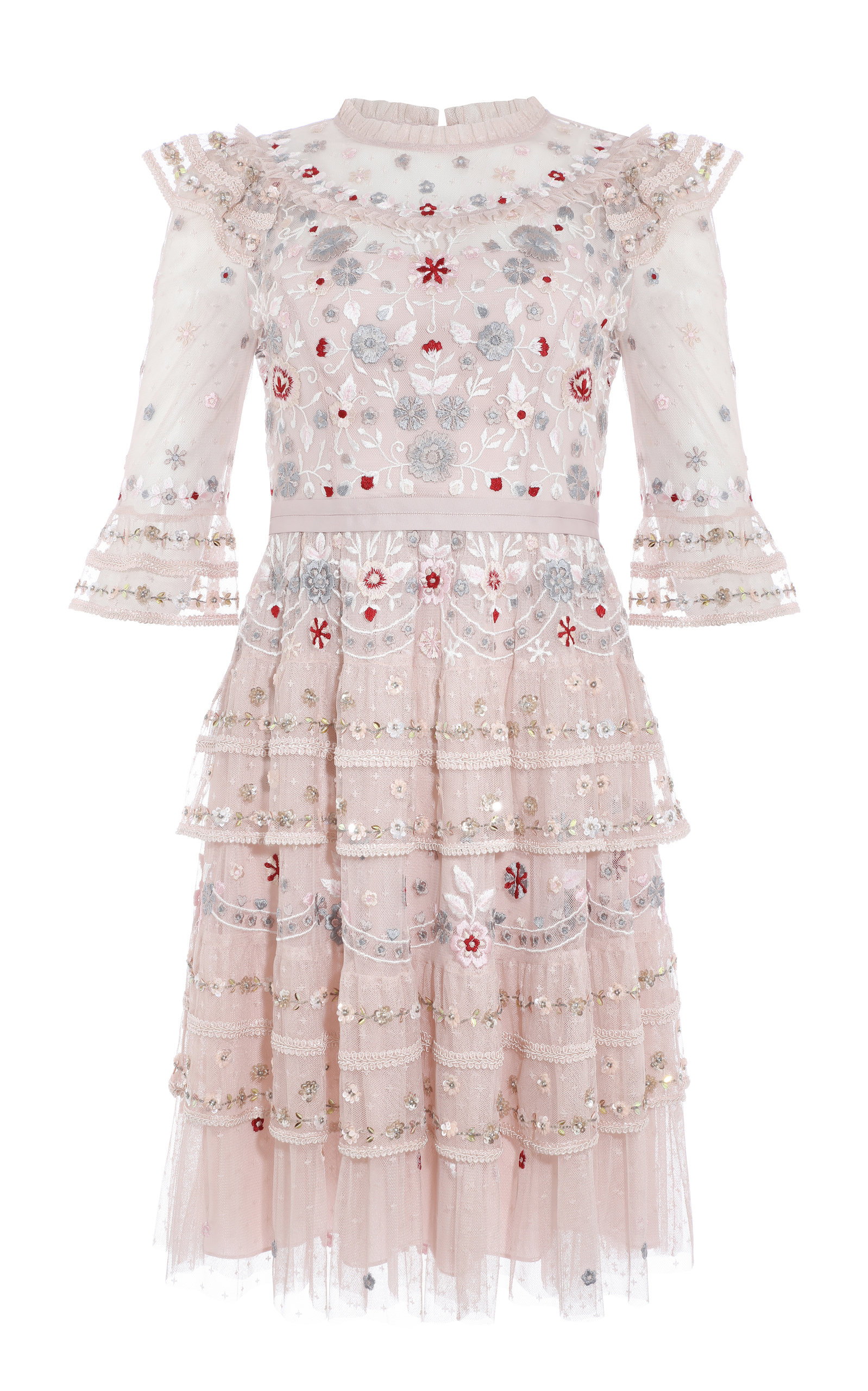 Eden Ruffled Floral Embroidered Tulle Mini Dress by Needle & Thread