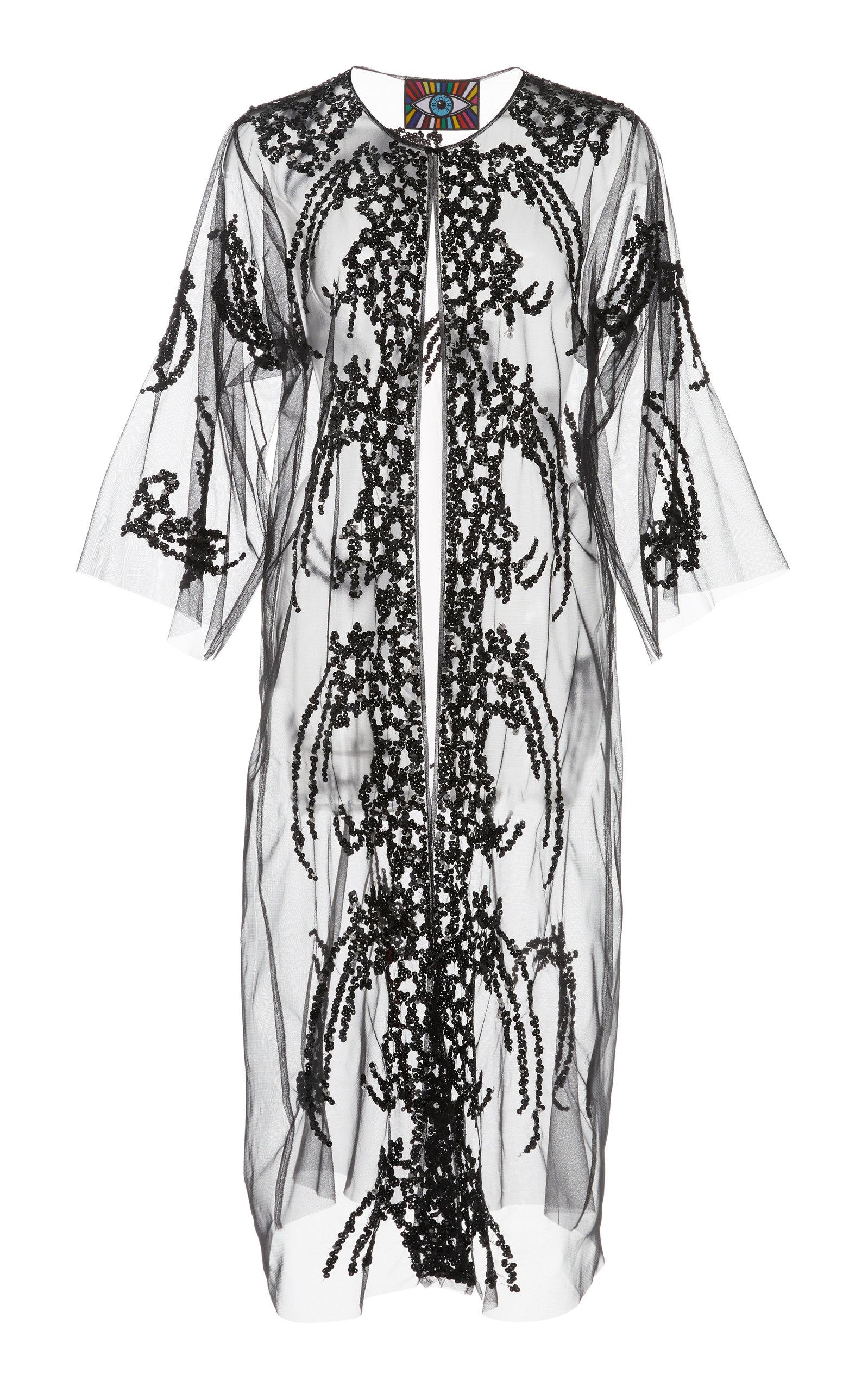 LIBERTINE | Libertine Black Sequin Tulle Robe | Goxip