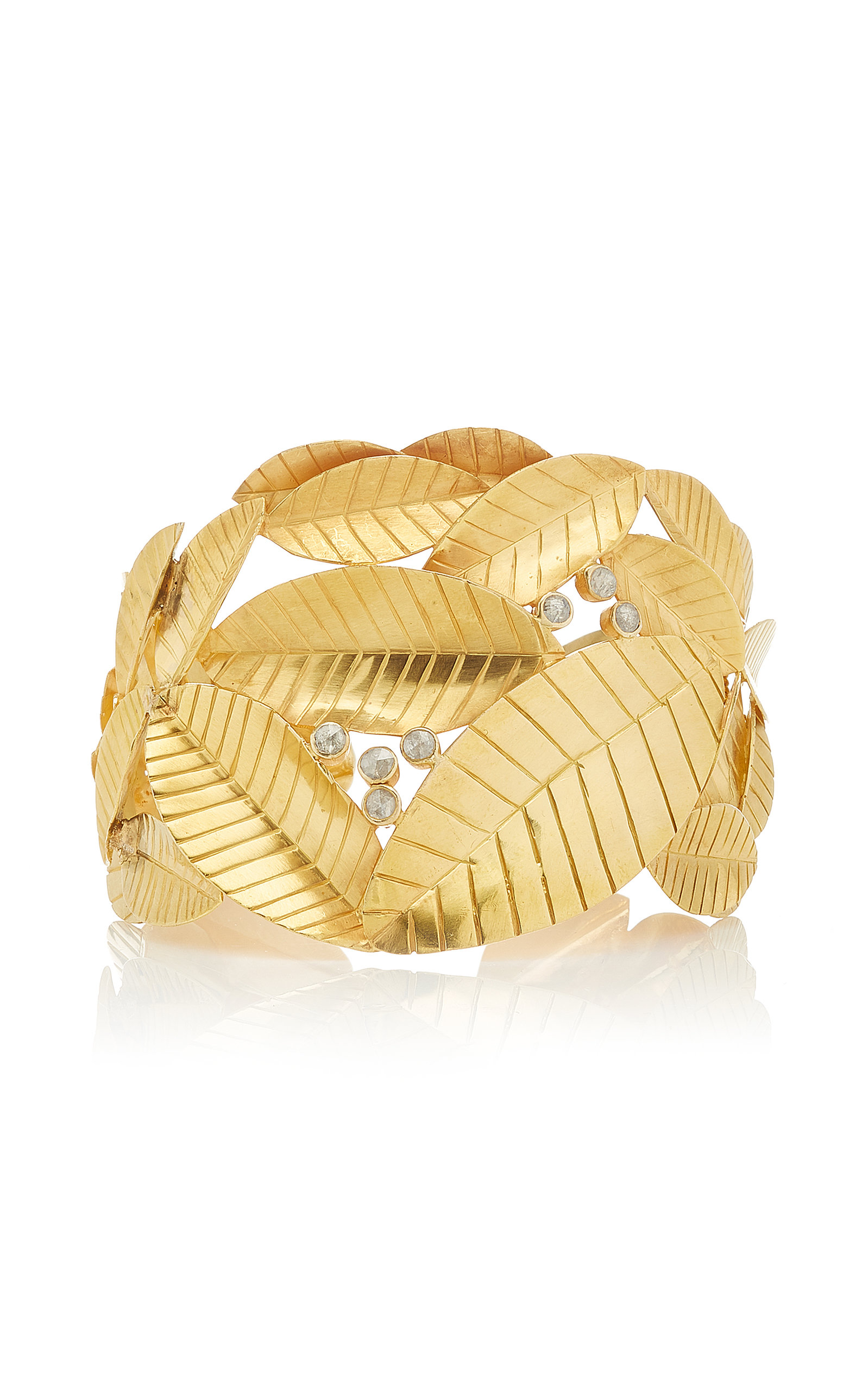 OFIRA | Ofira 18K Gold And Diamond Leaf Cuff | Goxip