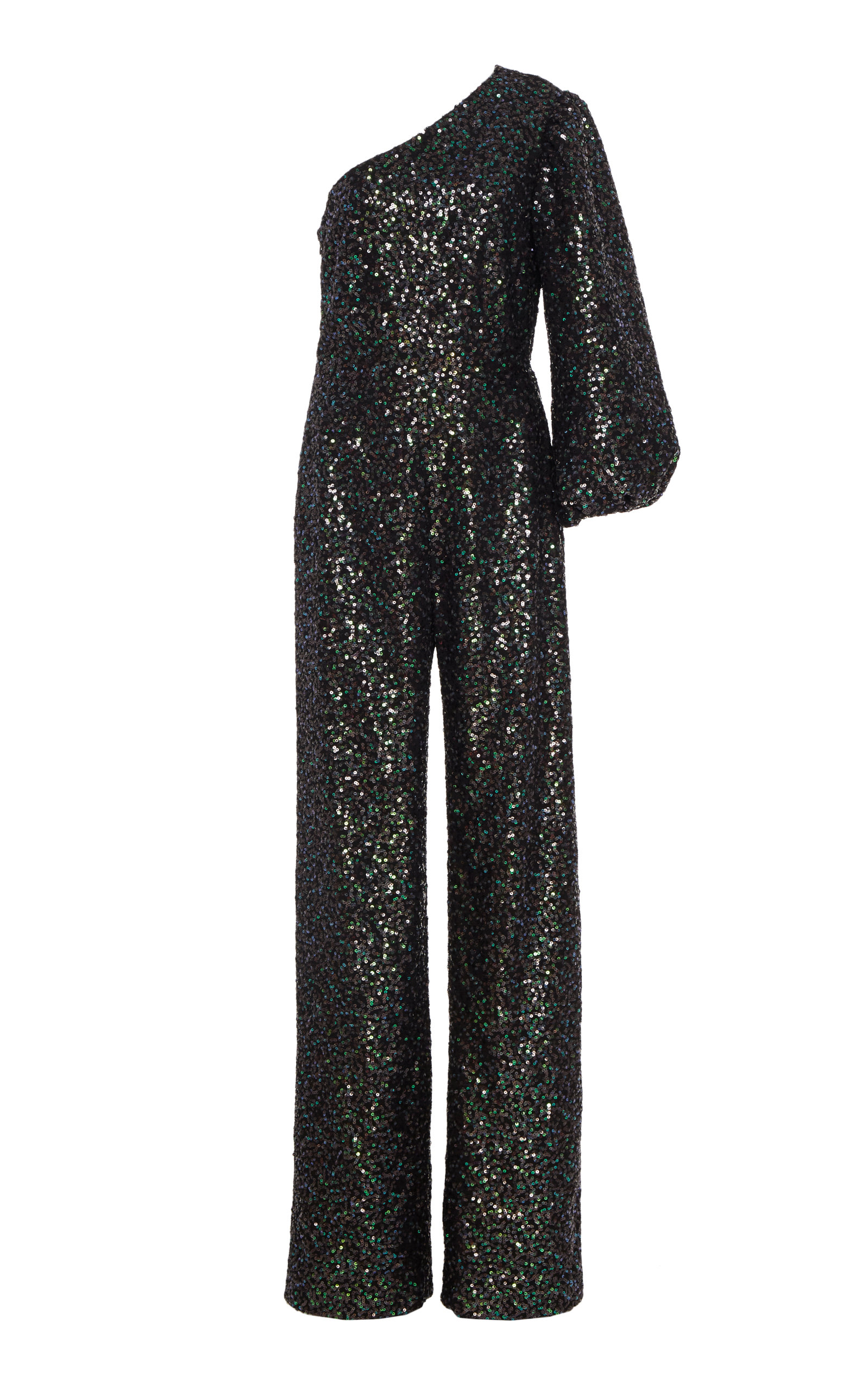 Saloni Suits LILY ONE-SHOULDER SEQUINED STRETCH-CREPE JUMPSUIT SIZE: 12