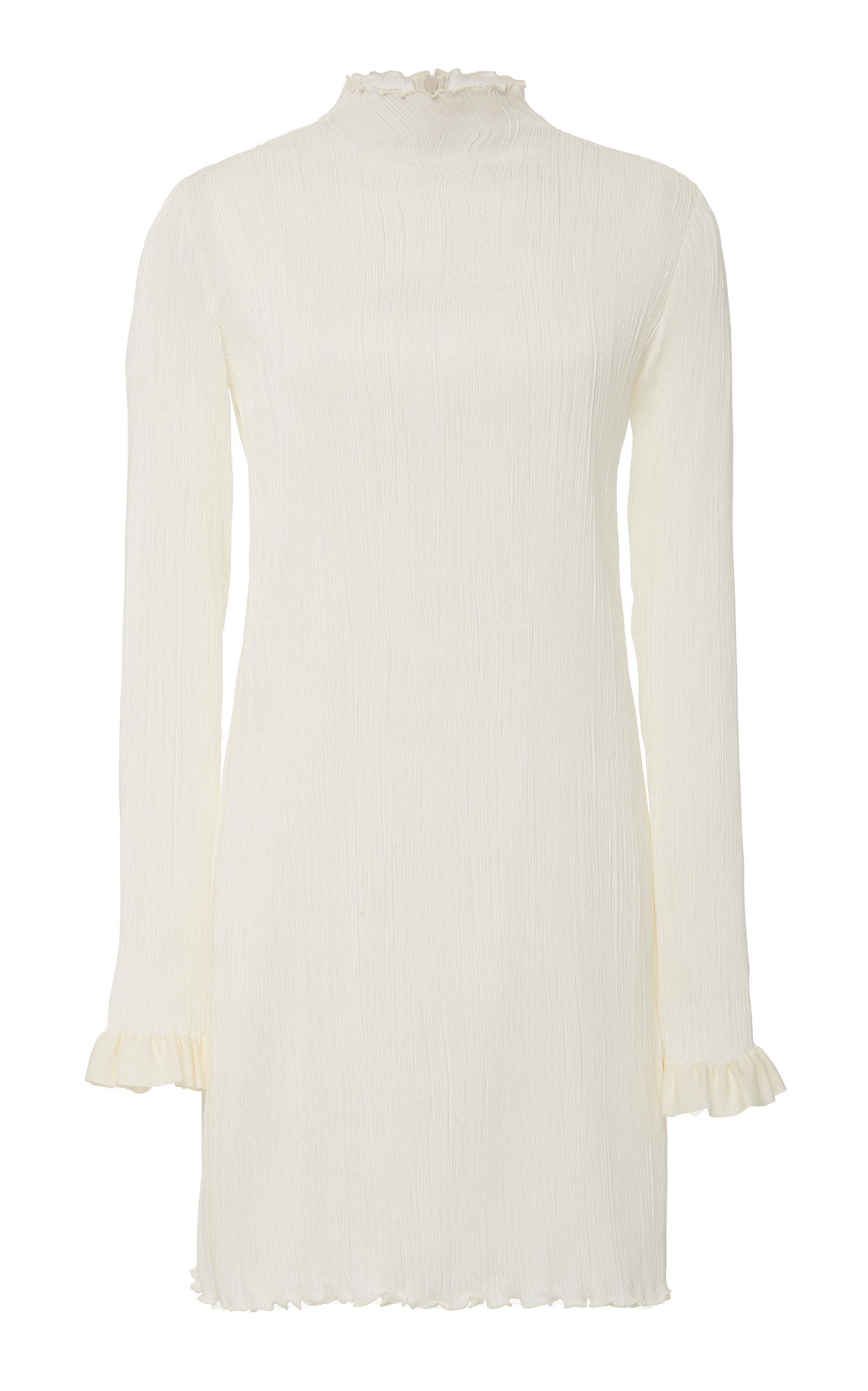 Danielle Frankel Jamie High-neck Silk Mini Dress In White