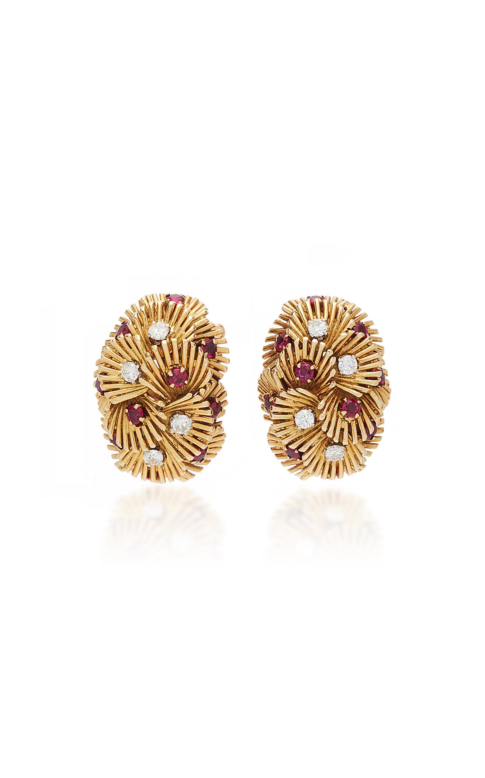 VAN CLEEF & ARPELS | Vintage Van Cleef & Arpels Ruby Diamond And Gold Earrings | Goxip