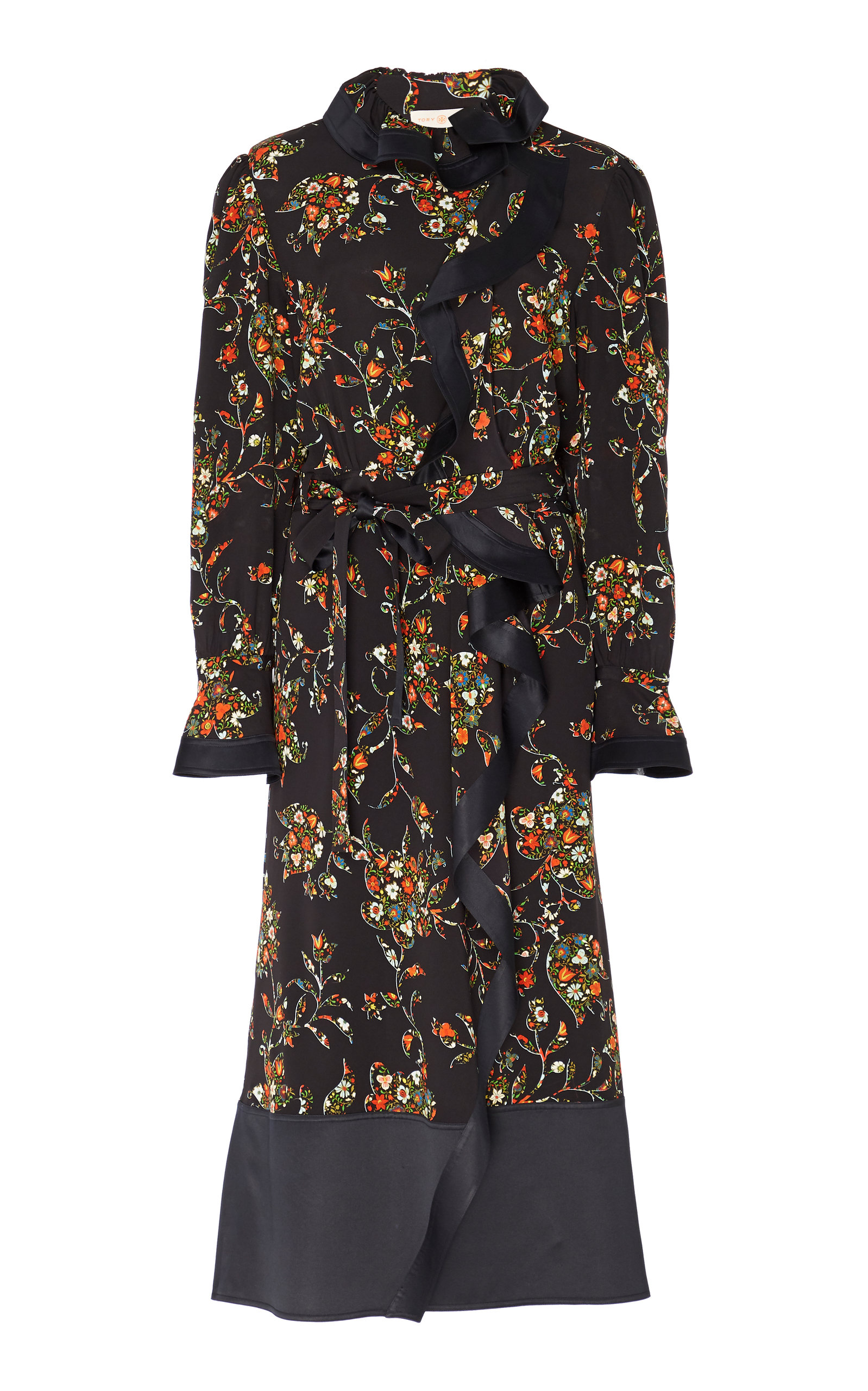 e2d37084869 Printed Silk Ruffle Wrap Dress by Tory Burch | Moda Operandi