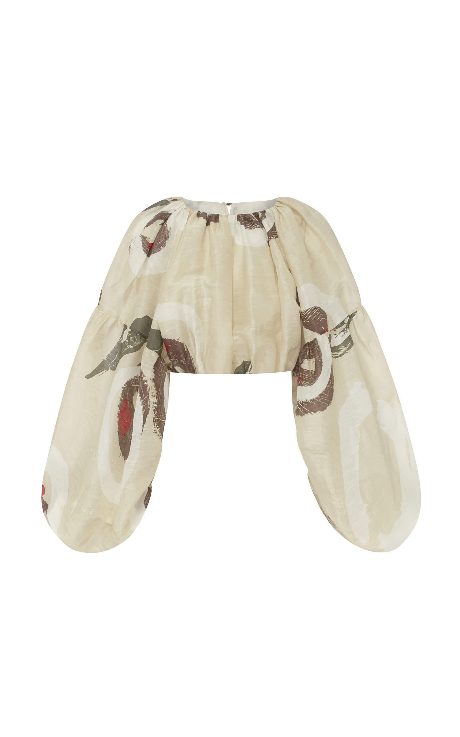 Aje Cropped Printed Cotton Blouse In Neutral