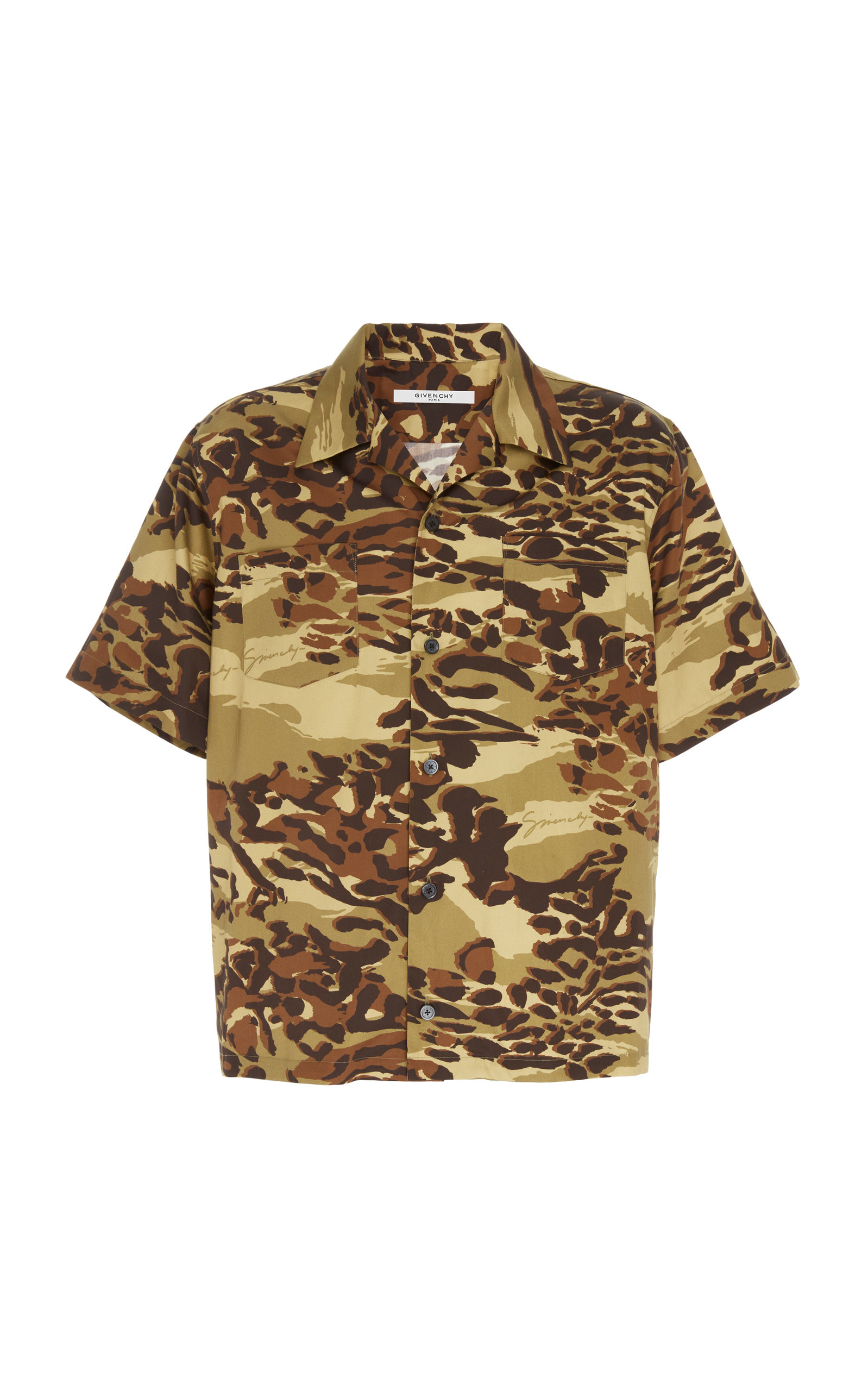 Givenchy T-shirts Camouflage Cotton Camp Shirt