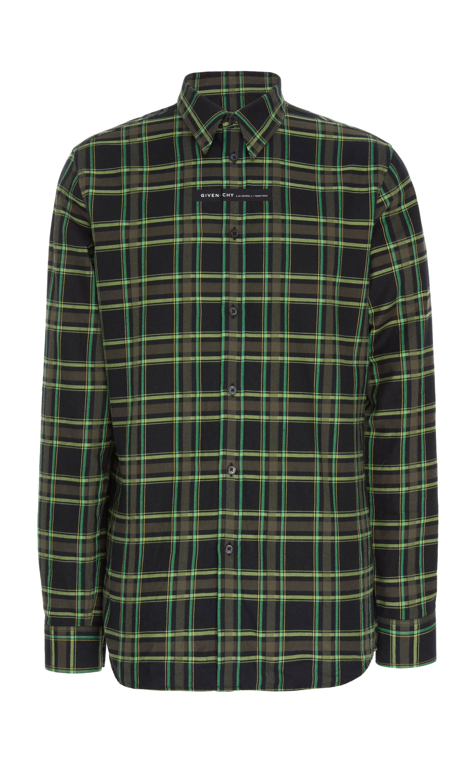Givenchy T-shirts Logo-Patch Plaid Cotton Shirt