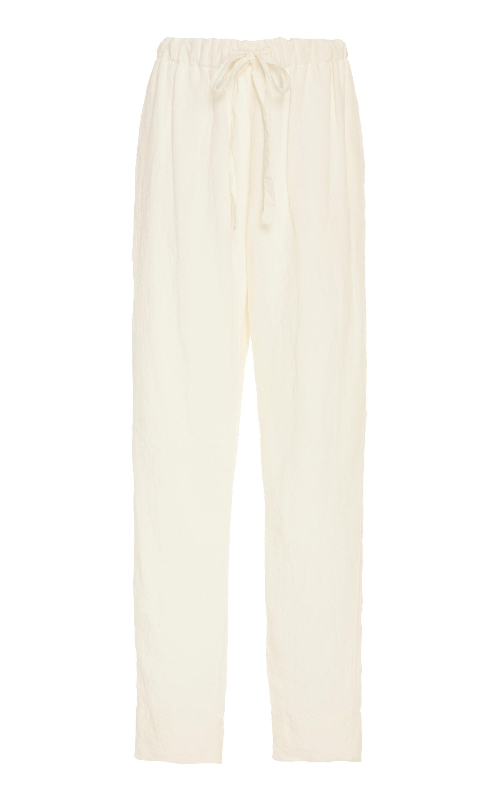 89e64a0b Bassike Herringbone Cotton-Jersey Straight-Leg Pants In White ...
