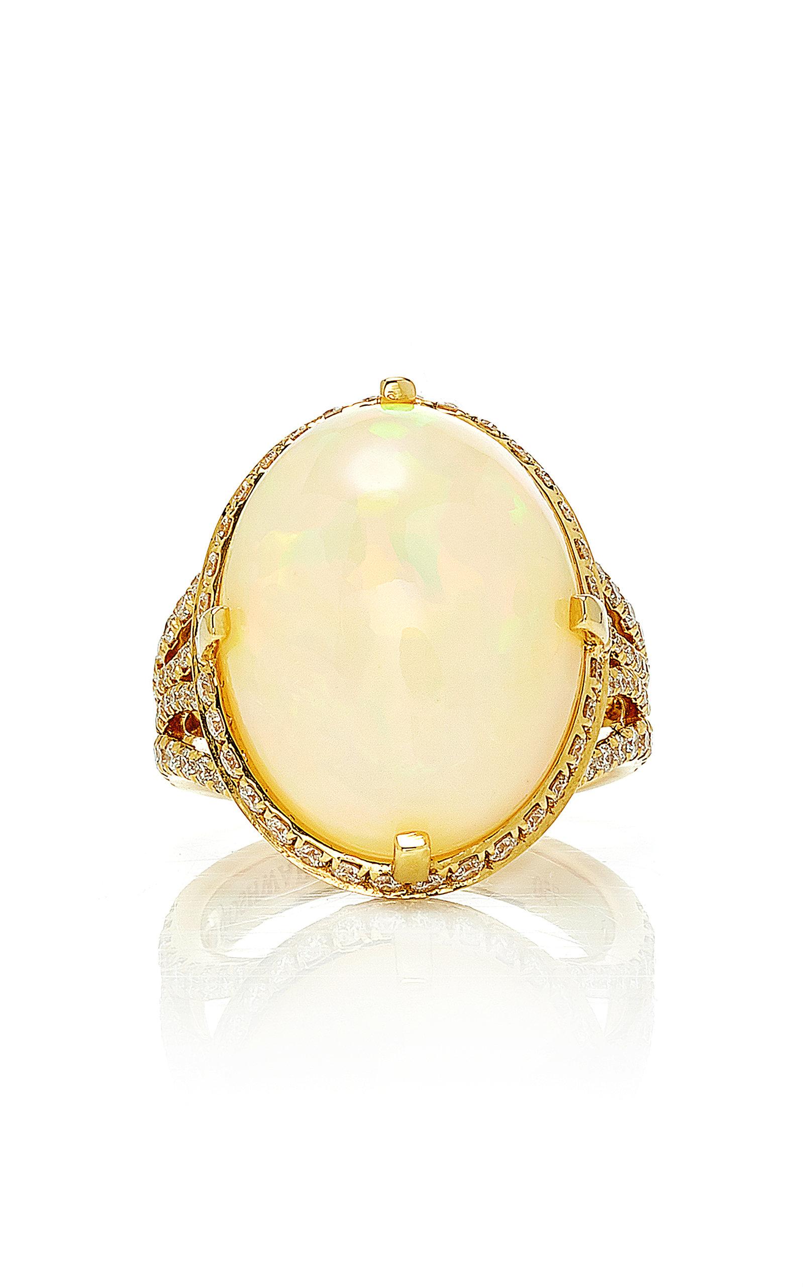 fcacf0d51 G-One 18K Yellow Gold, Opal and Diamond Ring by Goshwara   Moda Operandi