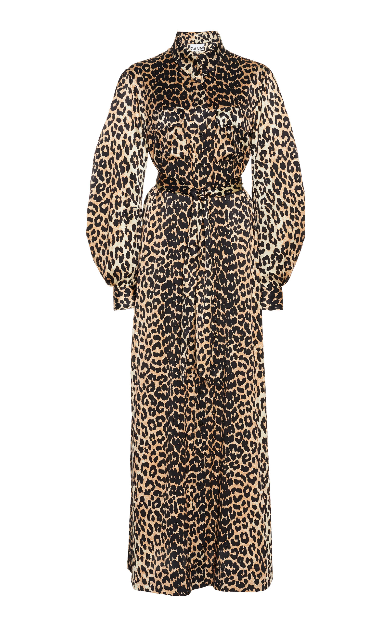 ac75568d Leopard-Print Silk-Blend Satin Maxi Dress by Ganni | Moda Operandi