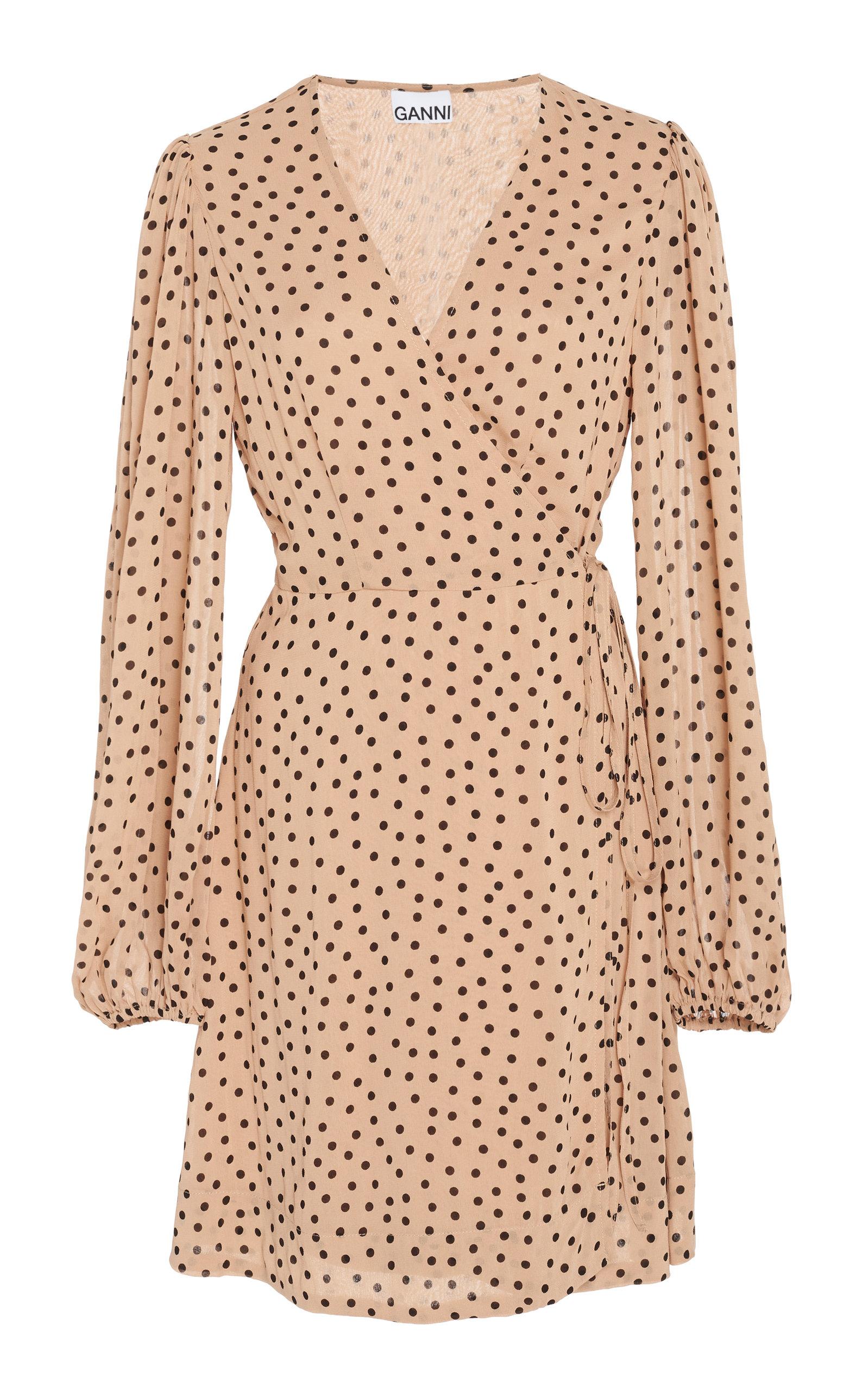 19506540a001 Polka-Dot Georgette Mini Wrap Dress by Ganni | Moda Operandi