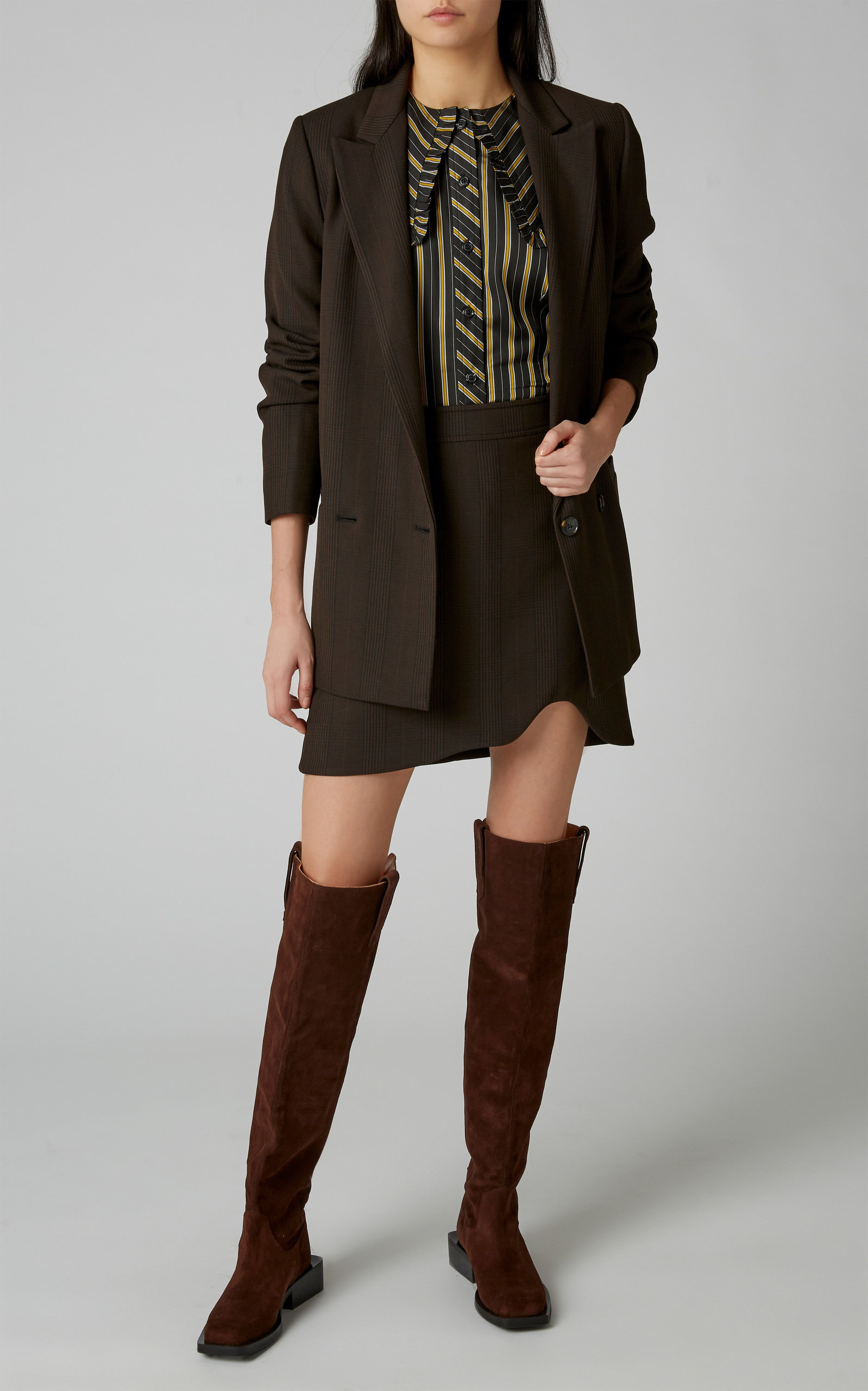 0929de3aa Plaid Stretch-Crepe Mini Skirt by Ganni | Moda Operandi