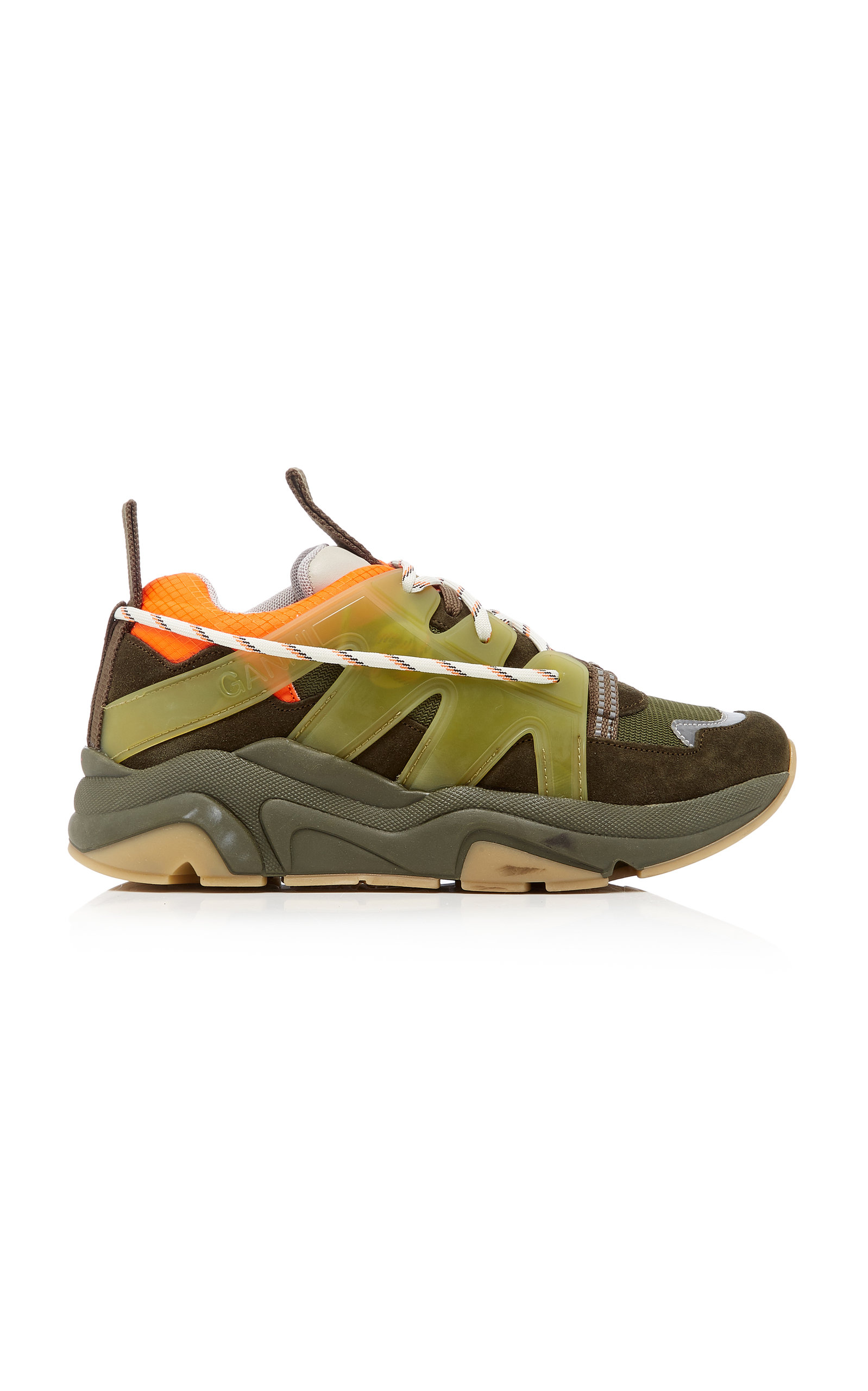 Ganni Suede, Leather And Mesh Sneakers In Green