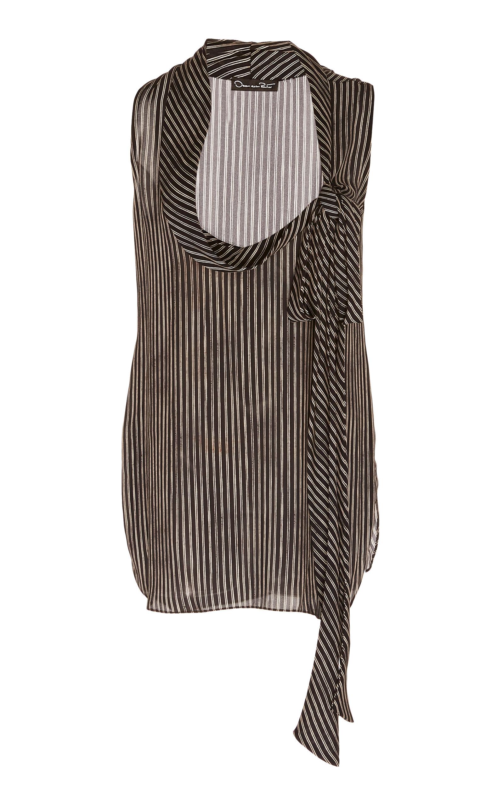5c9361b37 Striped Silk Sleeveless Blouse by Oscar de la Renta | Moda Operandi