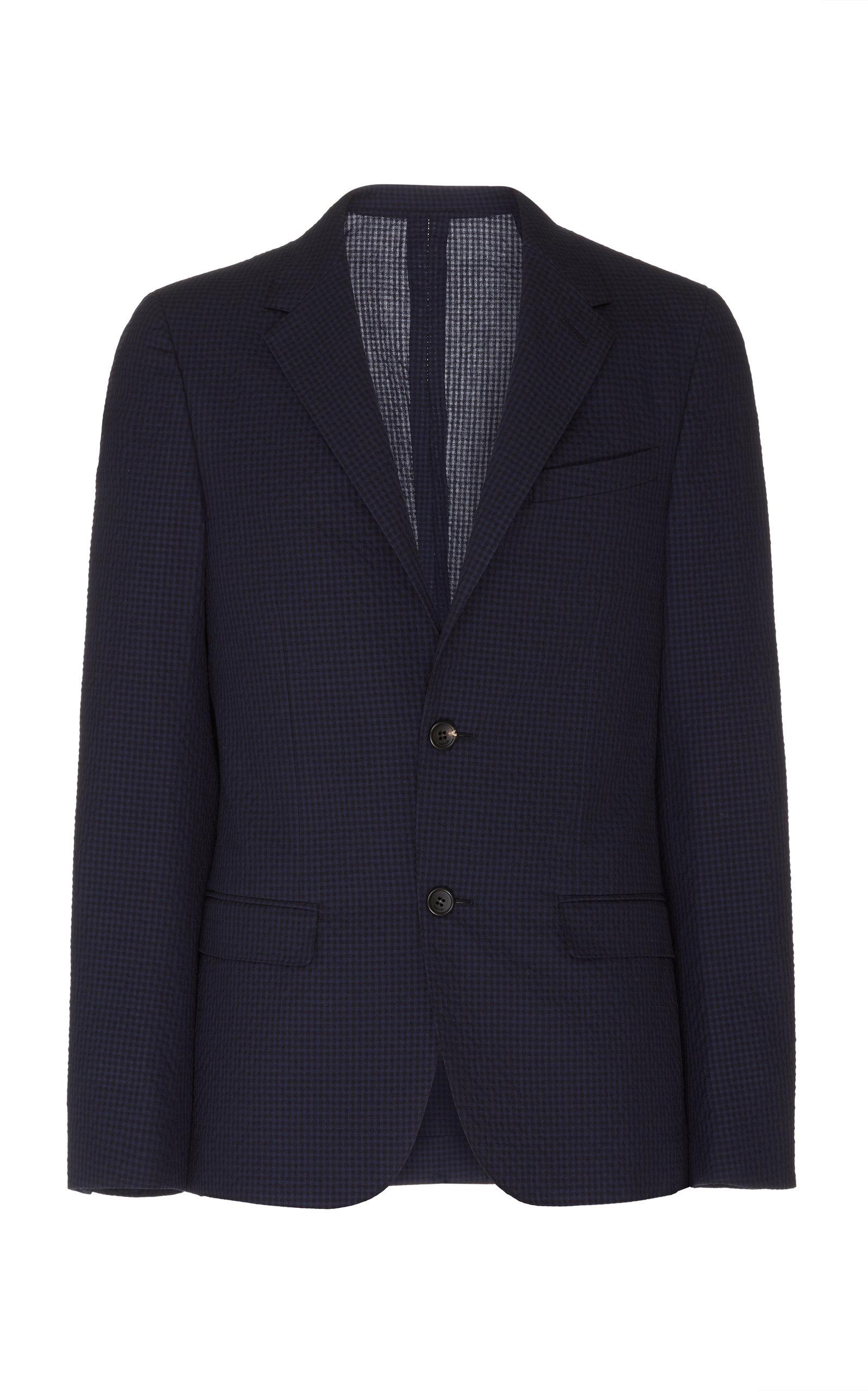 Lanvin Gingham Wool And Cotton-Blend Seersucker Blazer In Navy