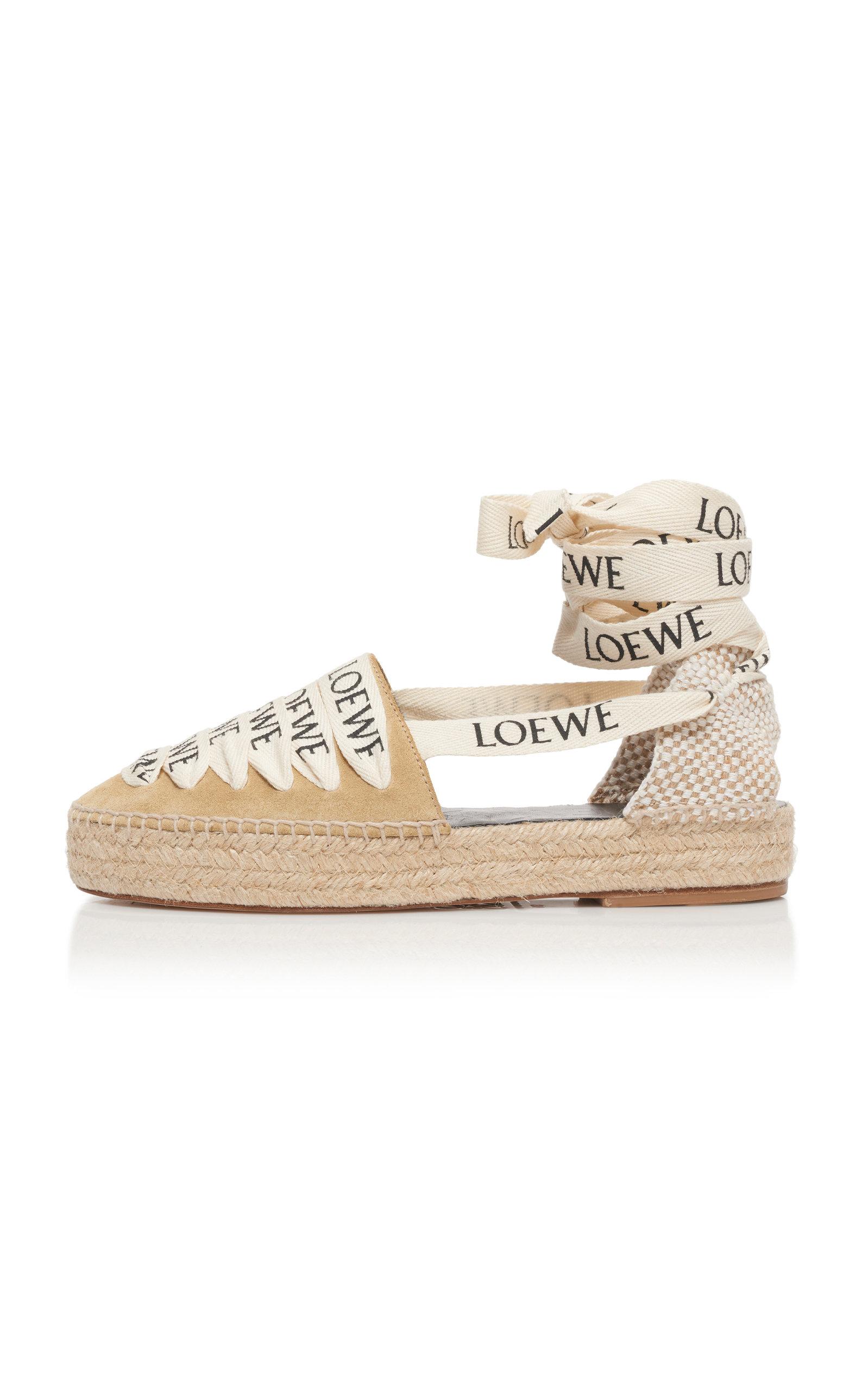 Loewe Shoes Suede Platform Espadrille Sandals