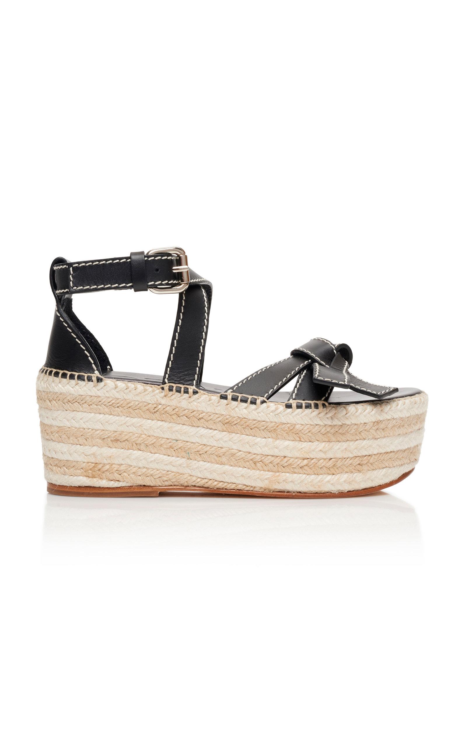 Loewe Shoes Gate Leather Espadrille Platform Sandals