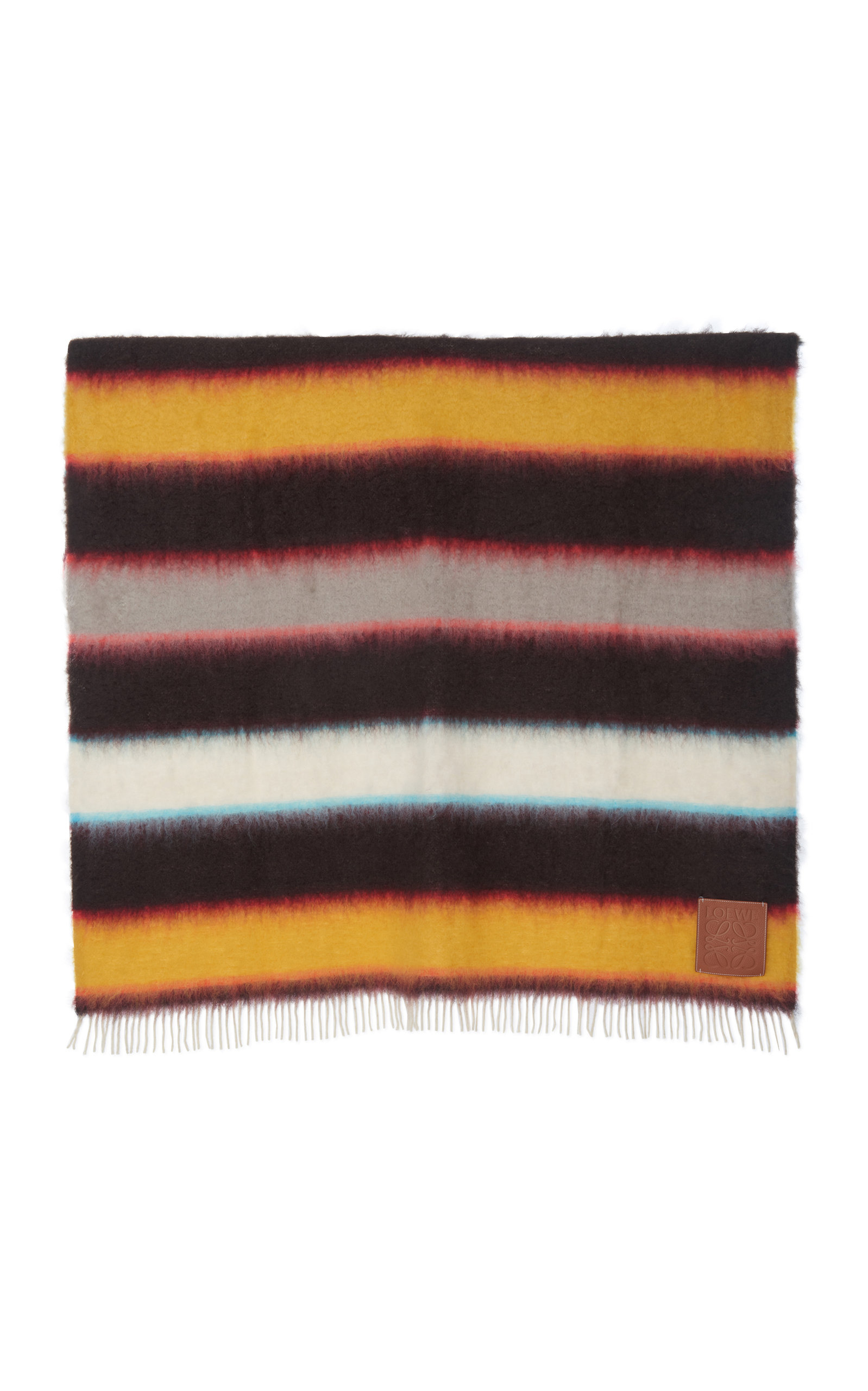 Loewe Accessories Fringed Striped Mohair Scarf
