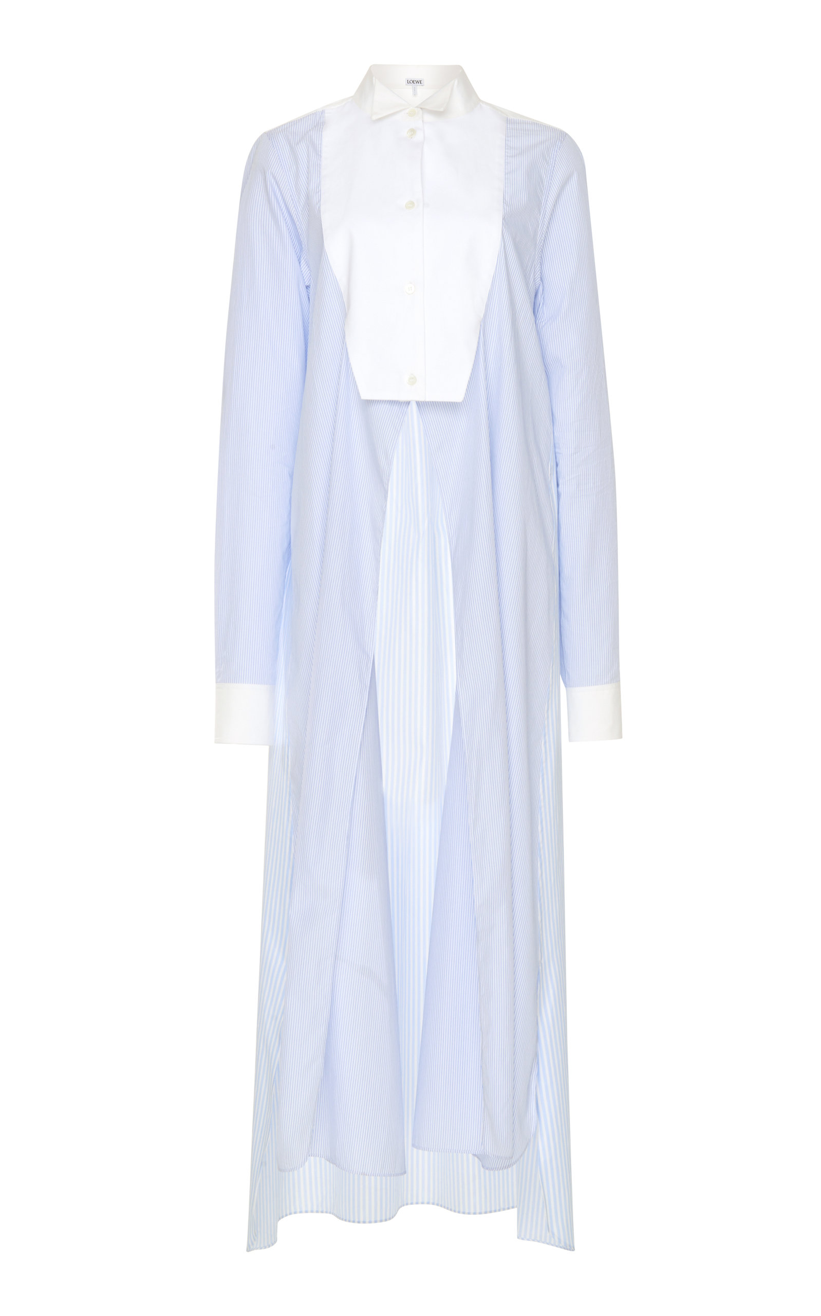 Loewe Dress Paneled Asymmetric Cotton-Poplin Shirt