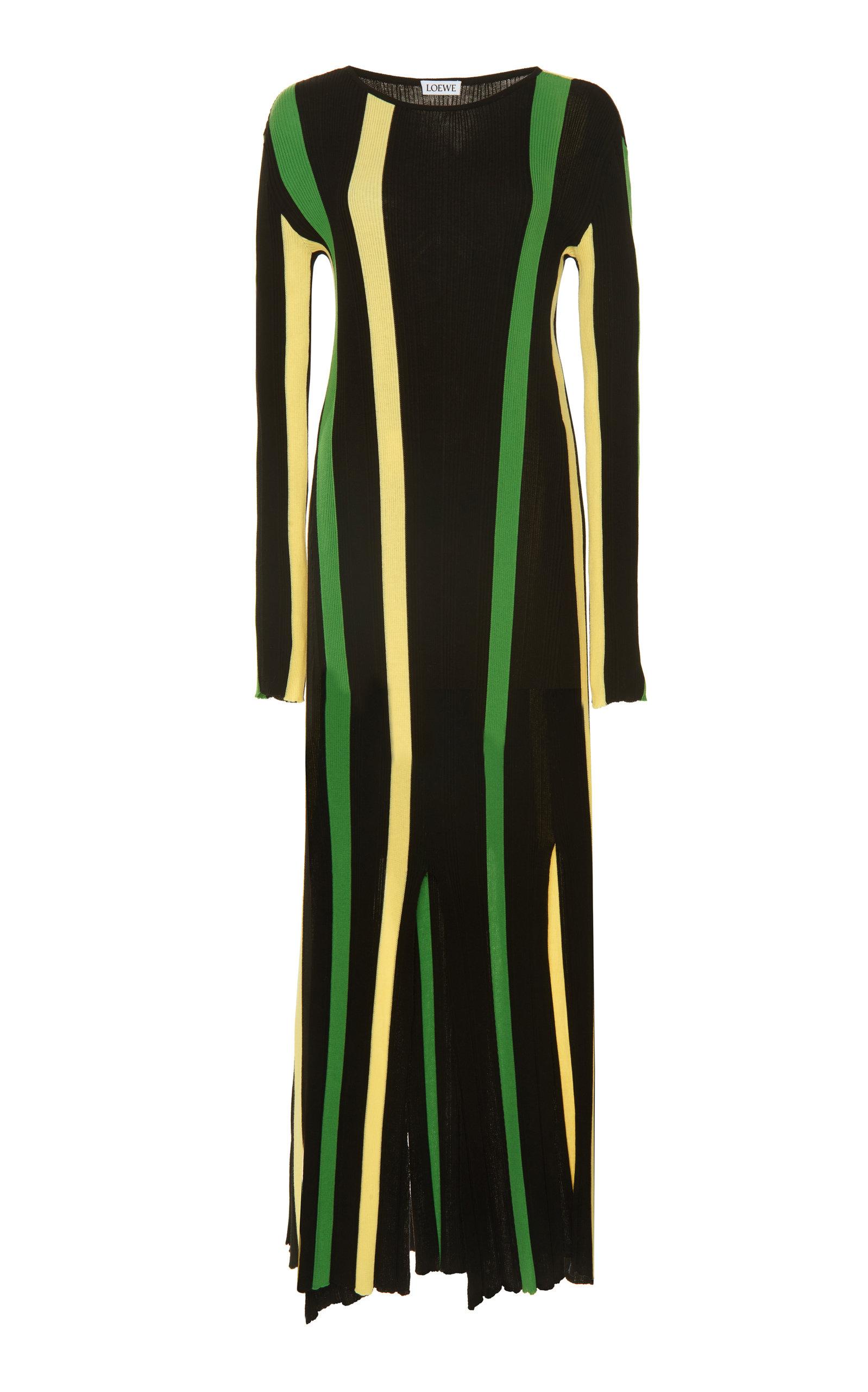 Loewe Dress Striped Ribbed Cotton-Jersey Maxi Dress