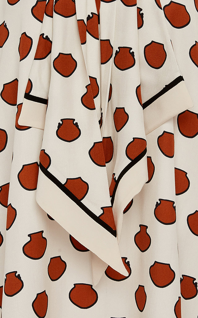 Johanna Ortiz T-shirts Scarf-Detailed Polka-Dot Crepe De Chine Shirt