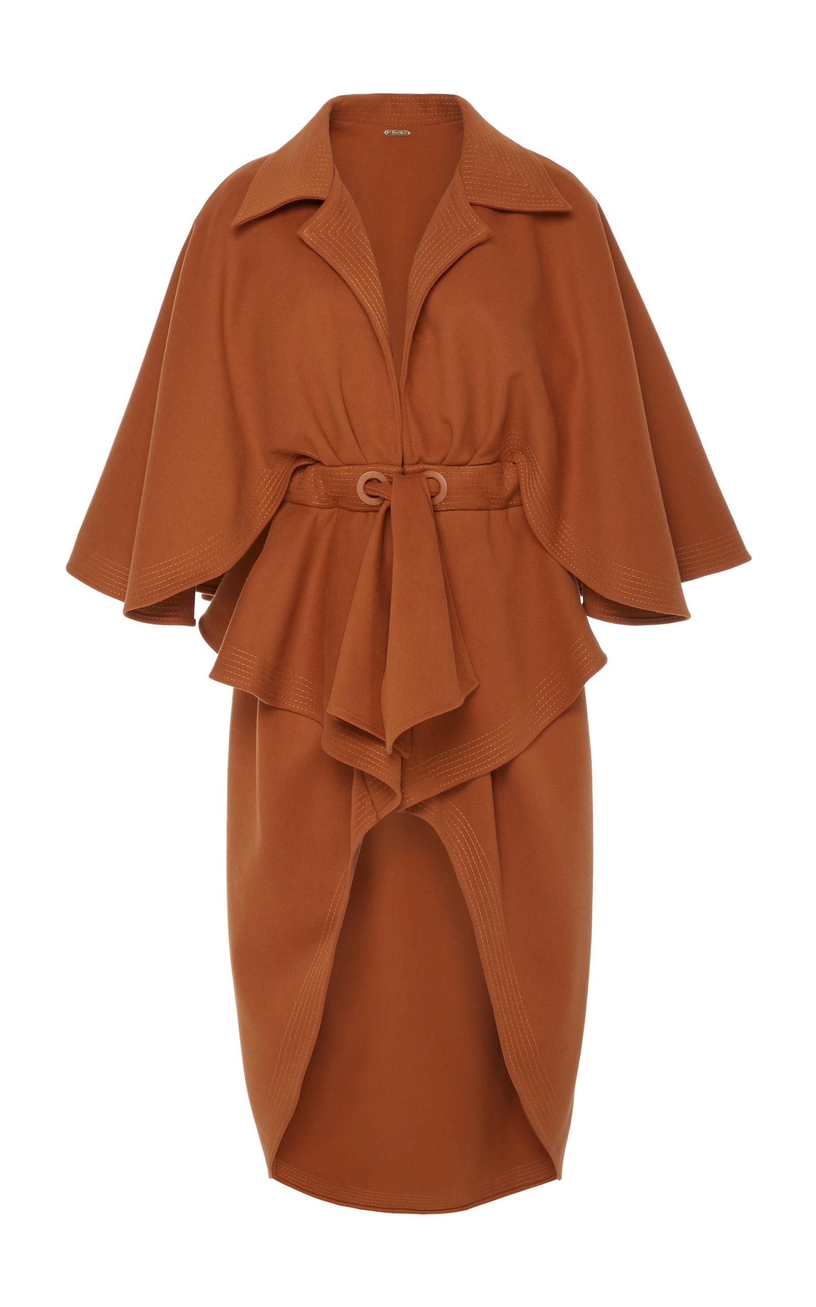 66e9d9e1 JOHANNA ORTIZ Eternal Changes Belted Cape Overcoat in Brown