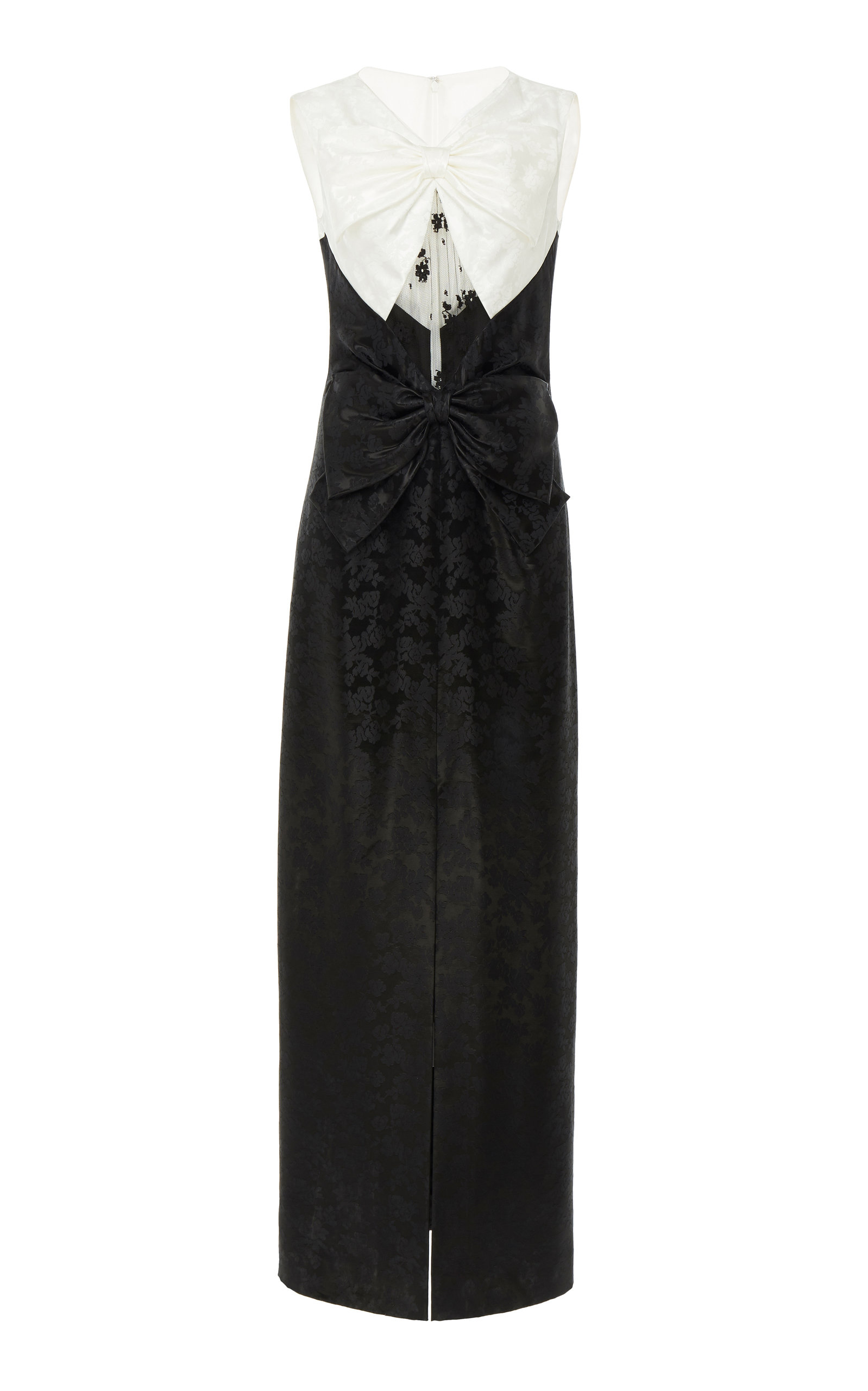 Givenchy Dresses Bow-Embellished Lace-Paneled Floral-Brocade Gown