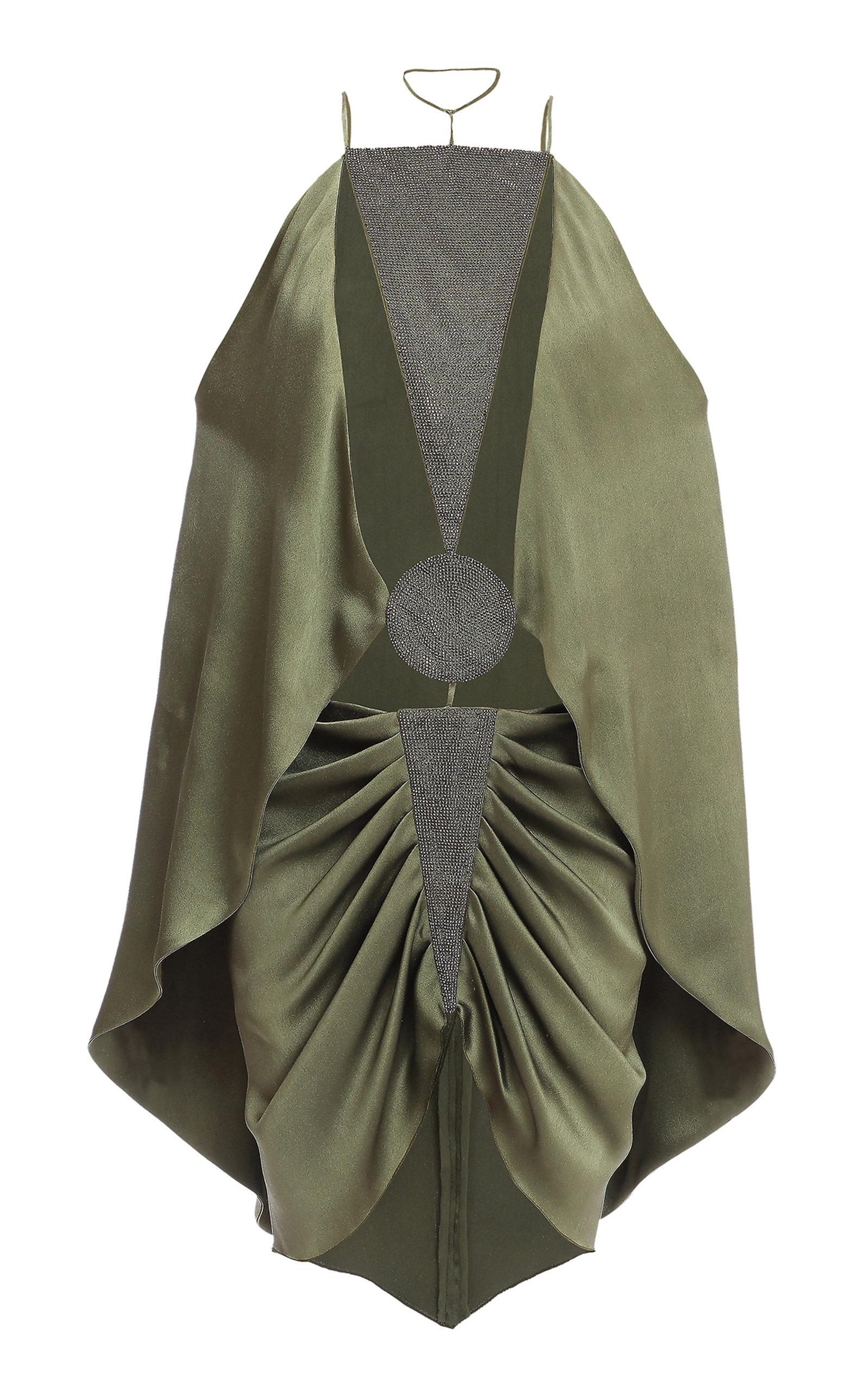 2792d2a1 Balmain Beaded-Trim Silk Mini Dress In Green | ModeSens